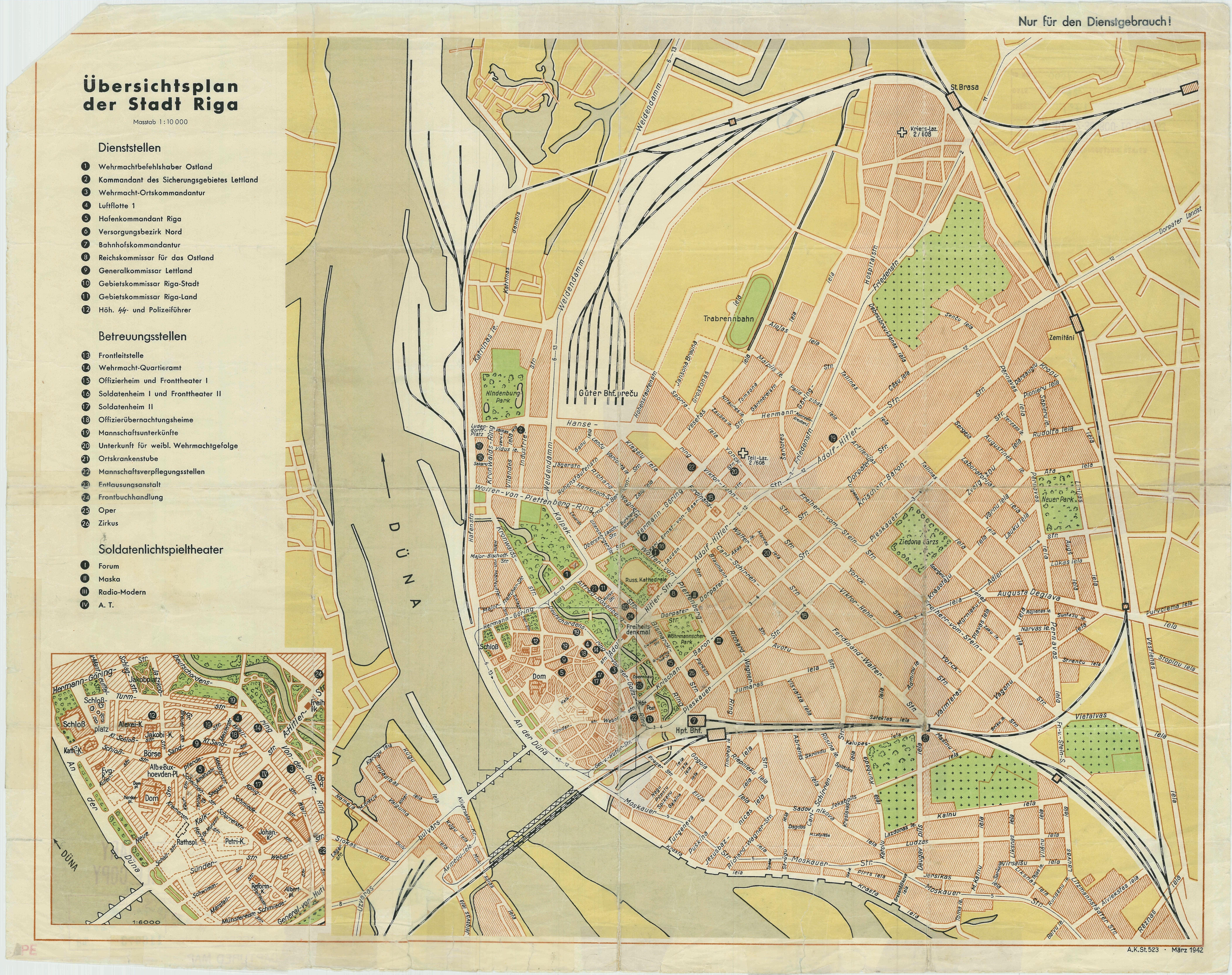 Ubersichtsplan der Stadt Riga