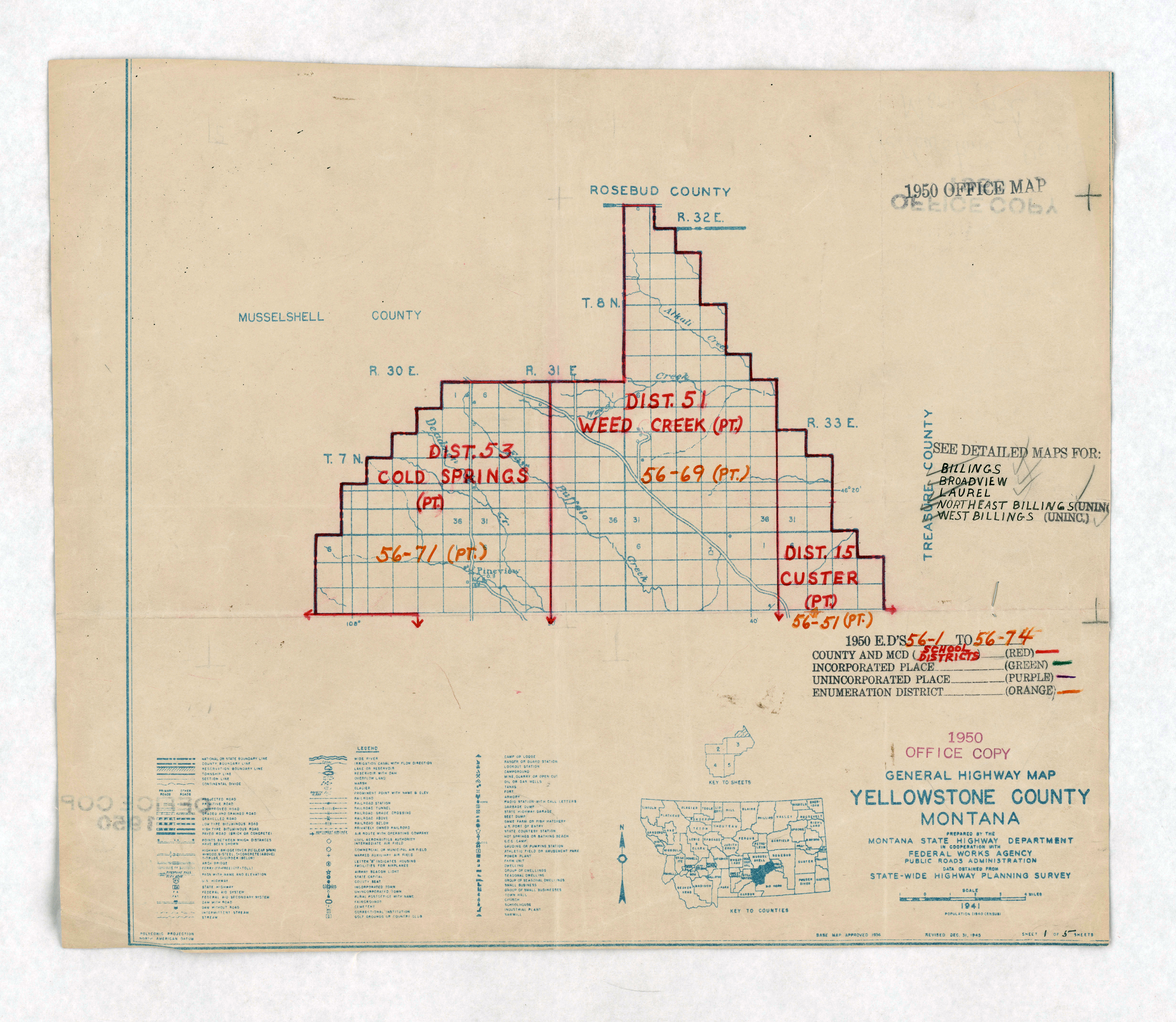 1950 Census Enumeration District Maps - Montana (MT) - Yellowstone County - Yellowstone County - ED 56-1 to 74