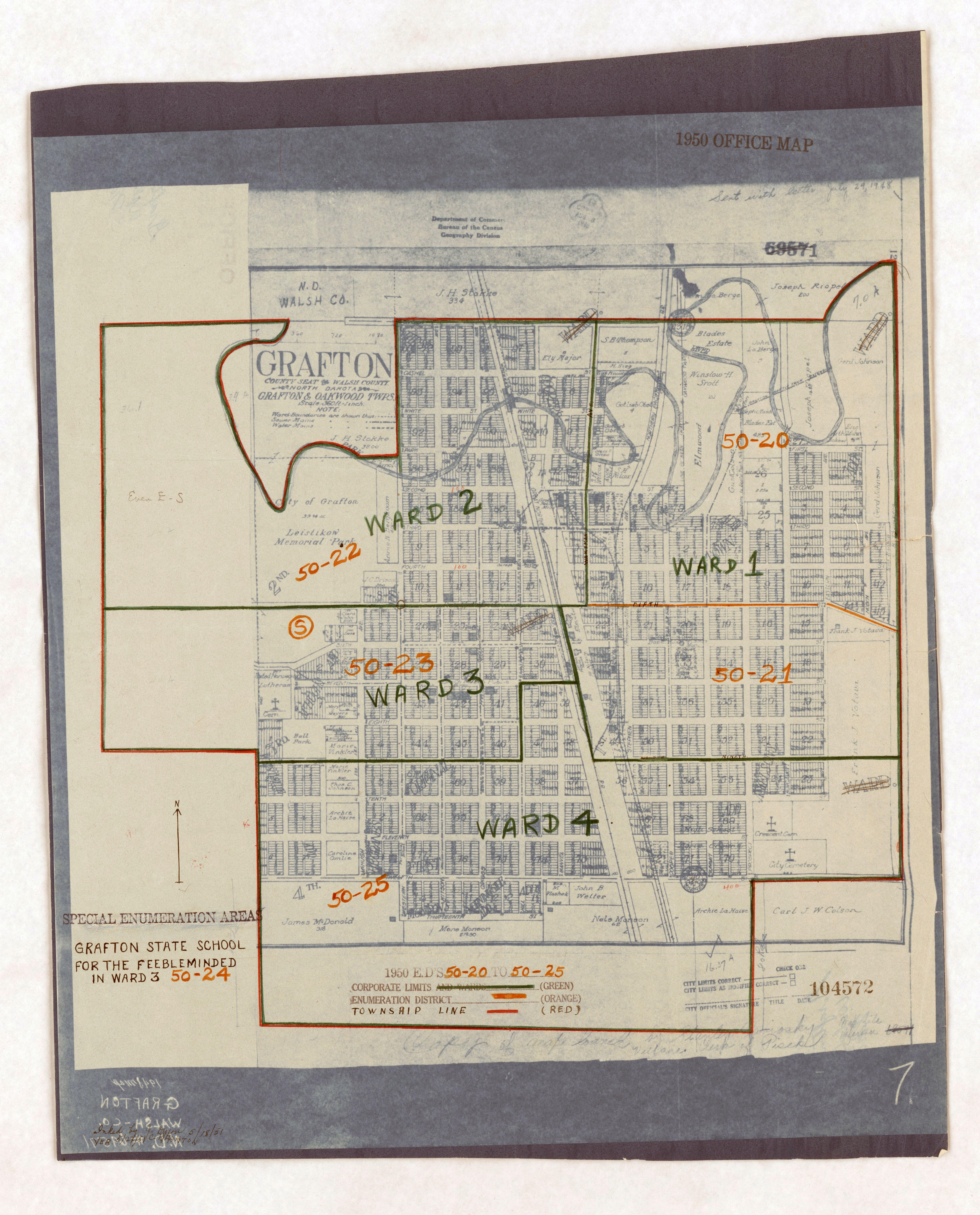1950 Census Enumeration District Maps - North Dakota (ND) - Walsh County - Grafton - ED 50-20 to 25