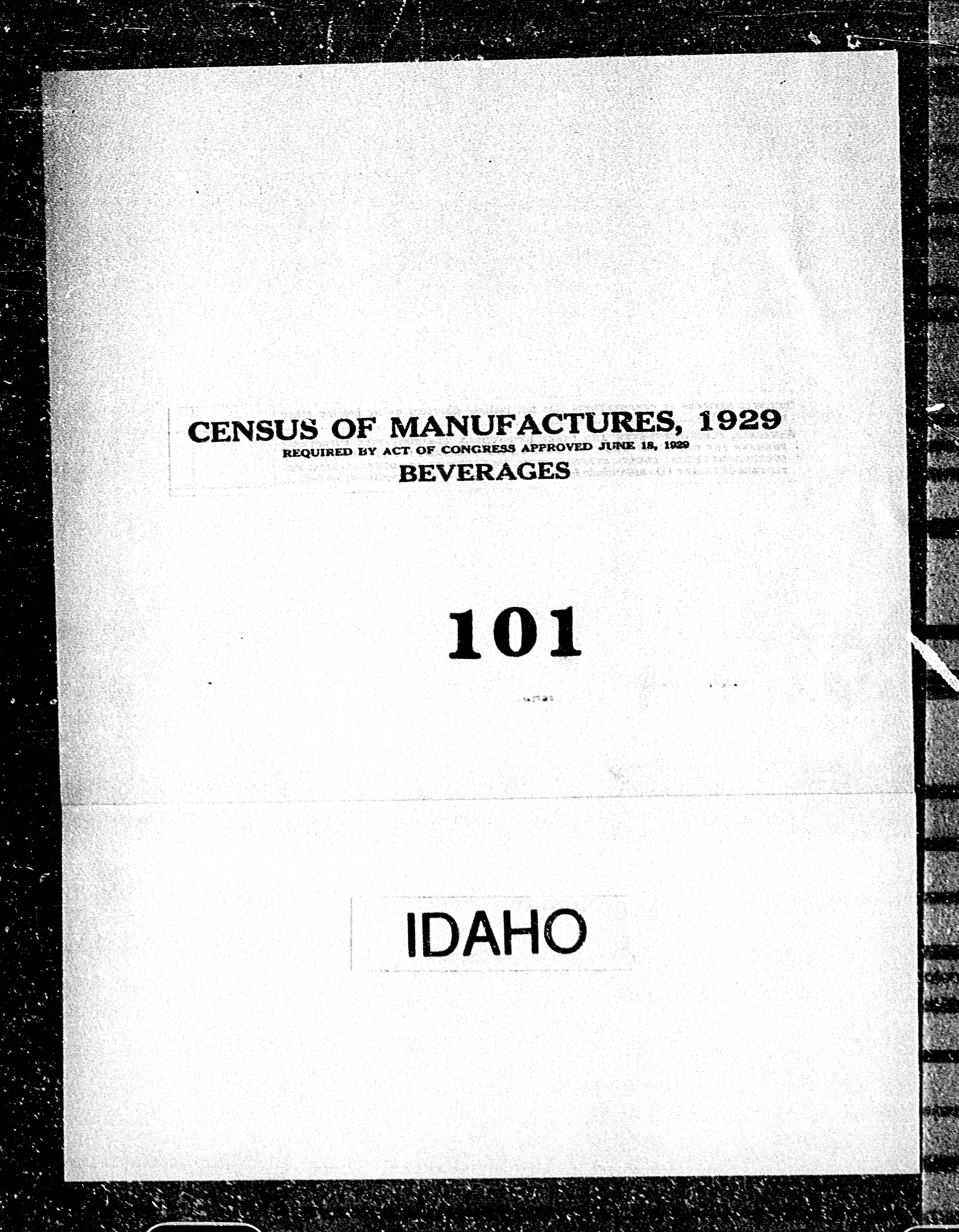 Idaho: Industry No. 101 - Beverages