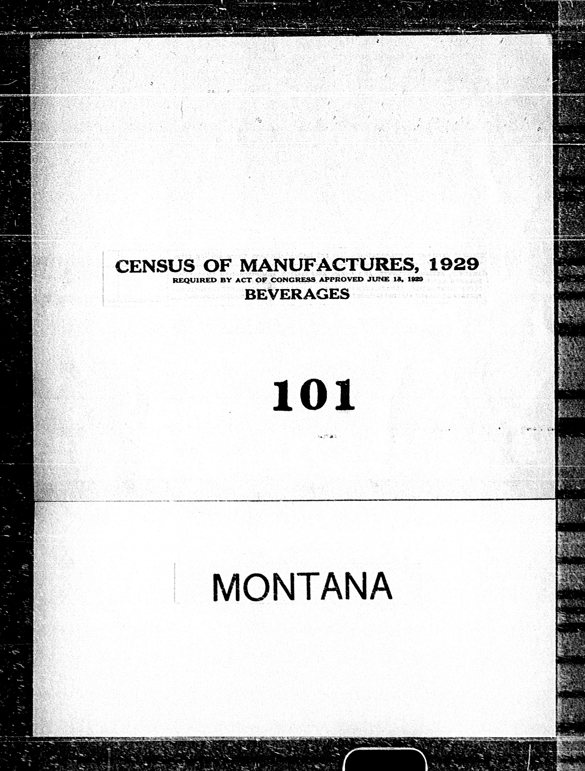 Montana: Industry No. 101 - Beverages
