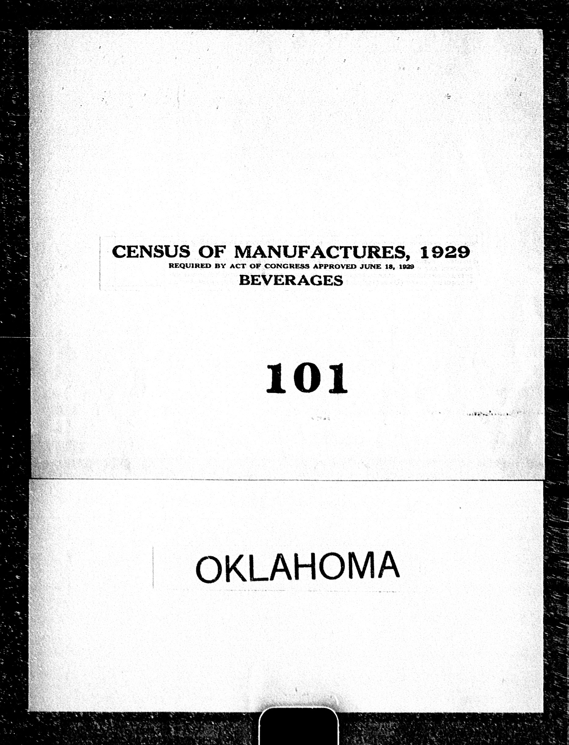 Oklahoma: Industry No. 101 - Beverages