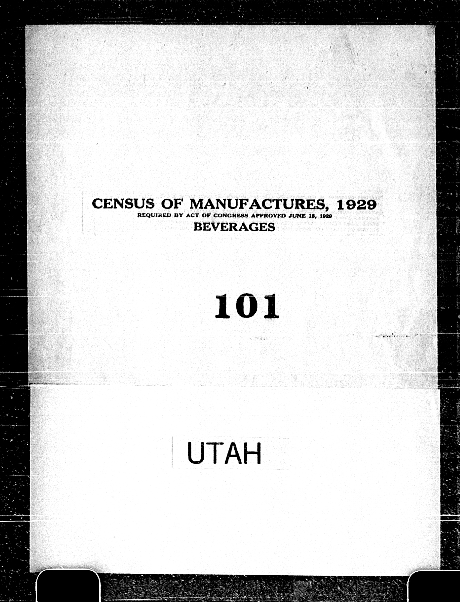 Utah: Industry No. 101 - Beverages
