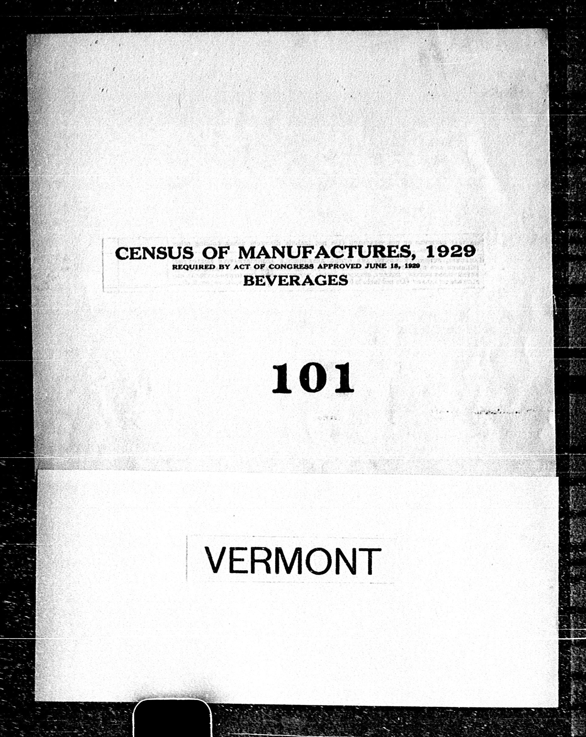 Vermont: Industry No. 101 - Beverages
