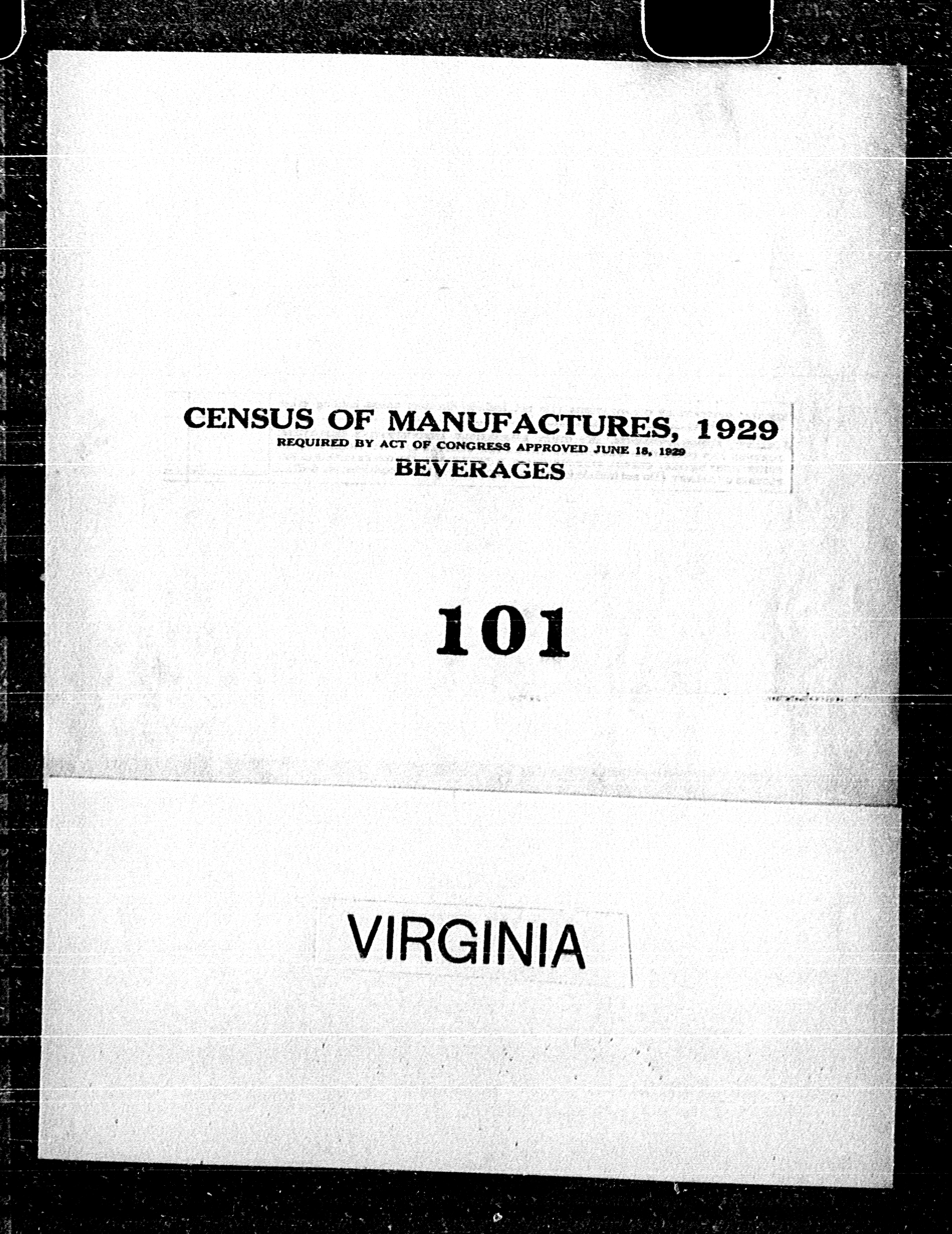 Virginia: Industry No. 101 - Beverages