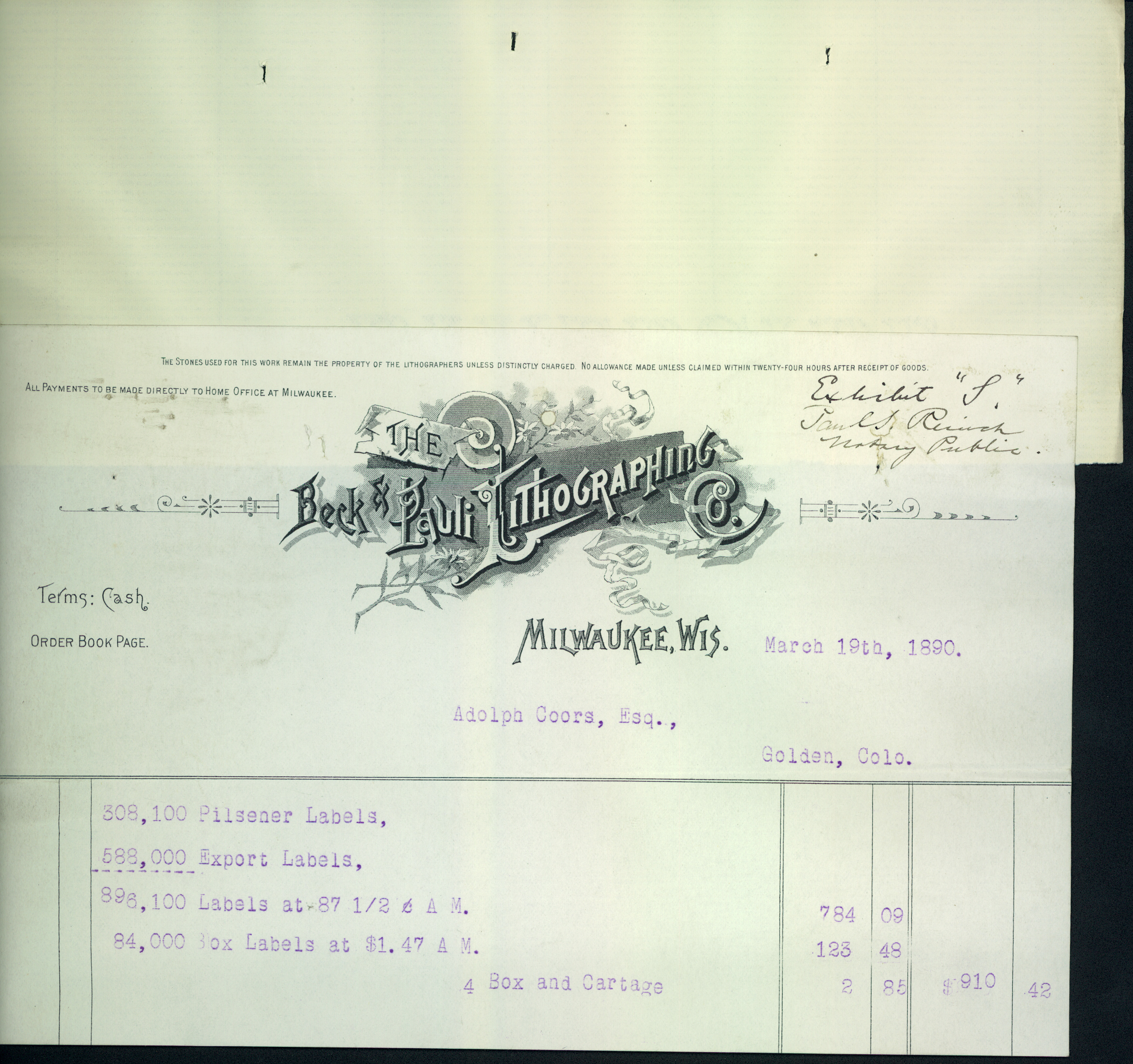 Bill From Beck and Pauli Lithography Company Issued to Adolph Coors