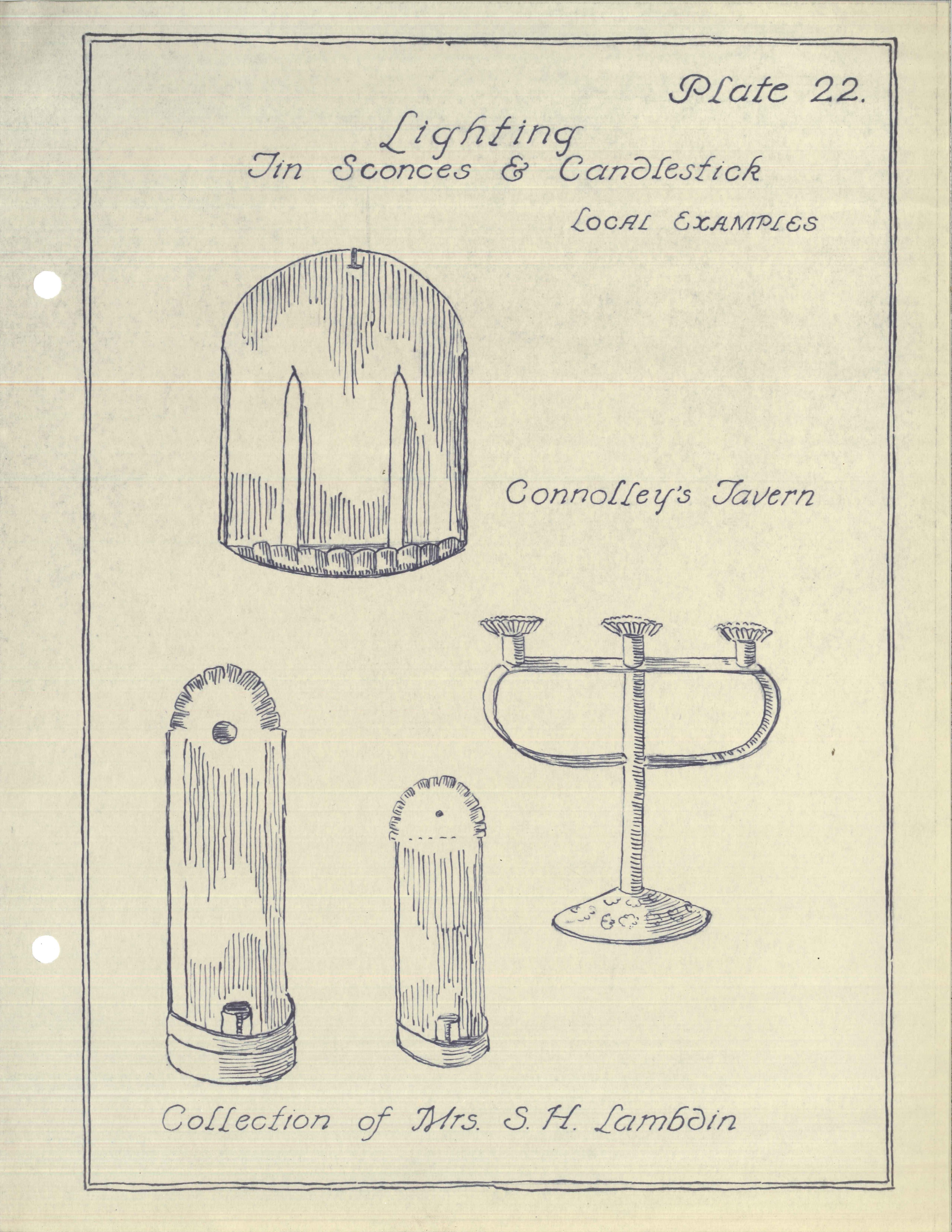 Plate 22, Lighting, Tin Sconces & Candlesticks