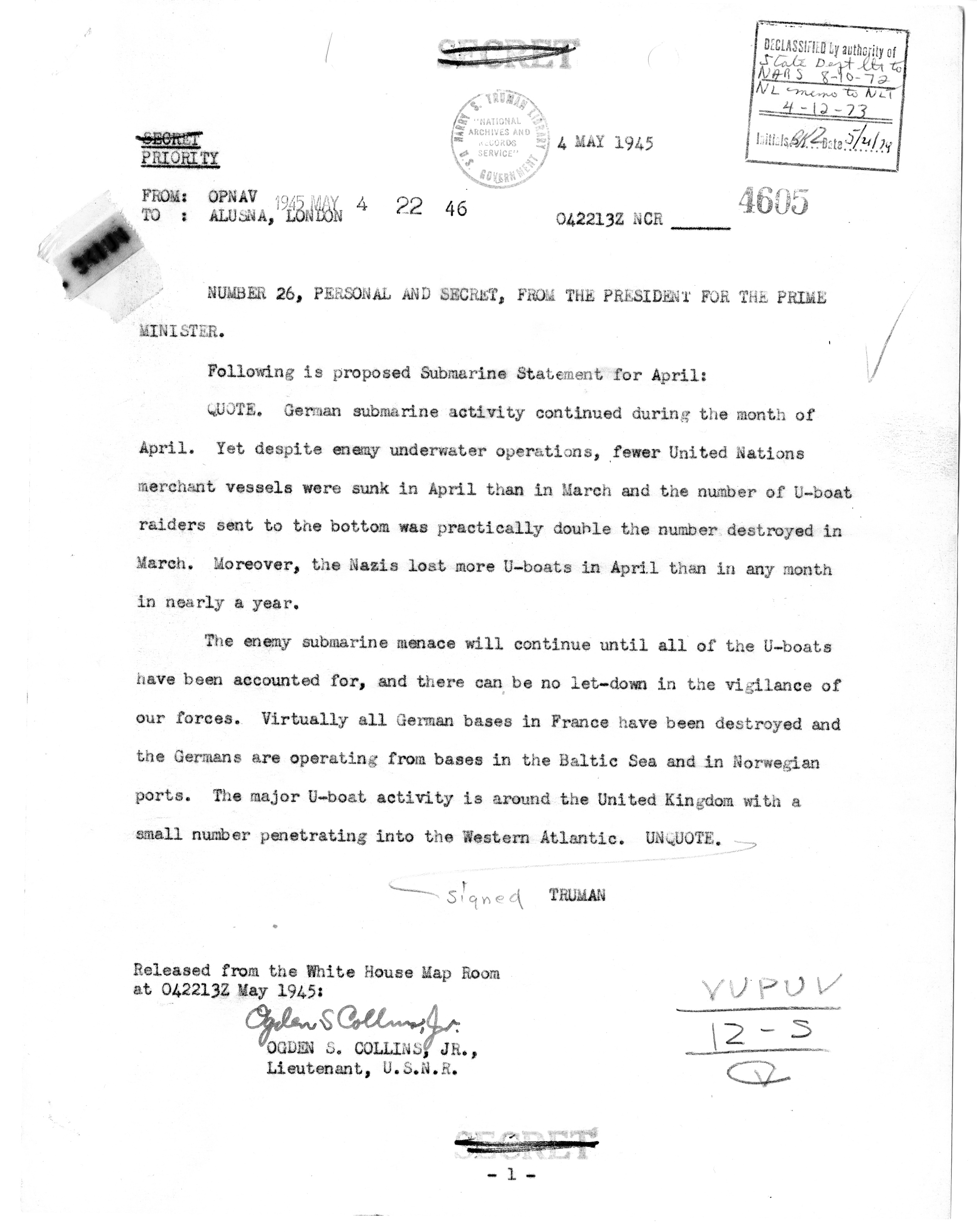 Telegram from President Harry S. Truman to Prime Minister Winston Churchill