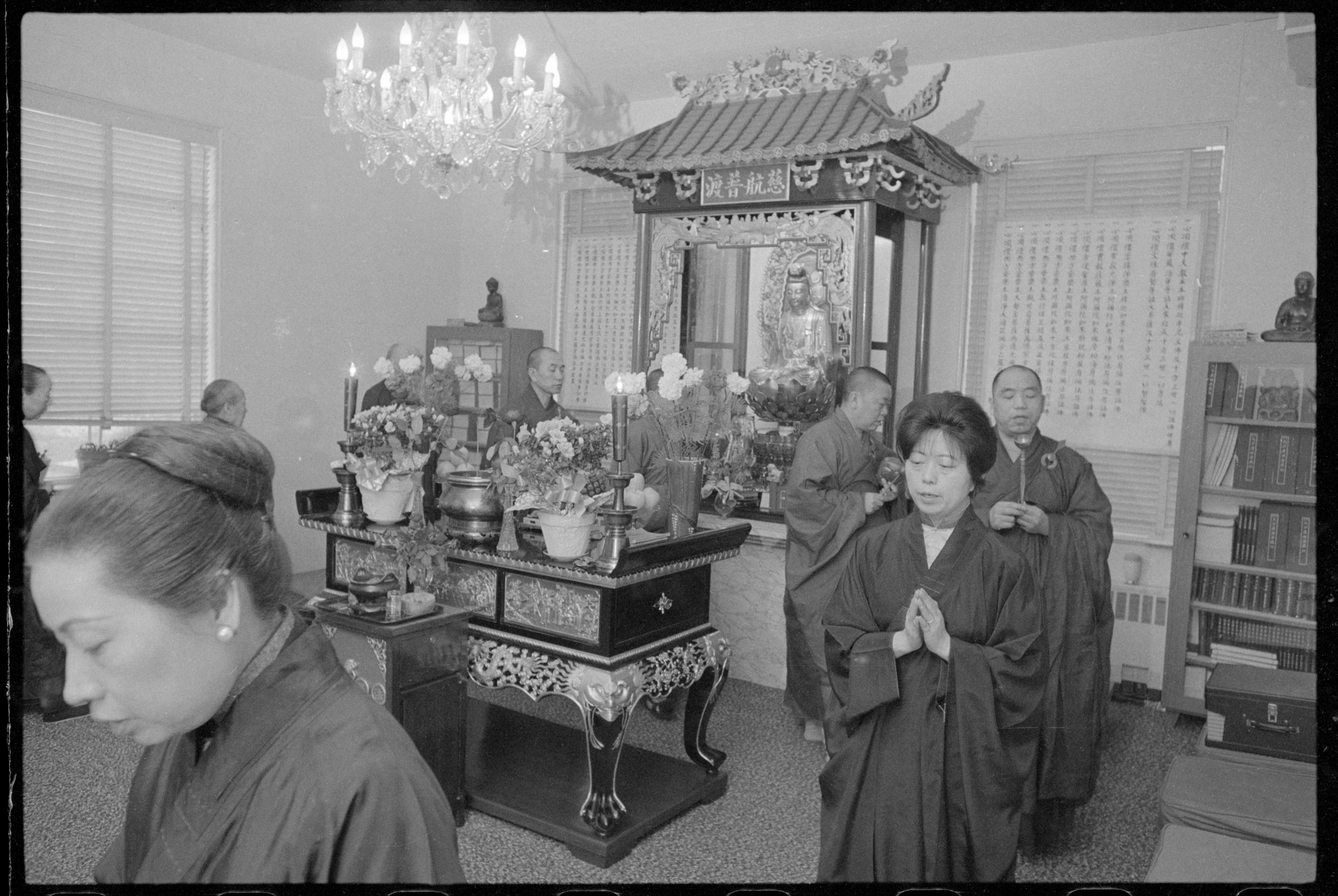 Chinese Buddhists at the Temple of Enlightenment, Bronx, New York