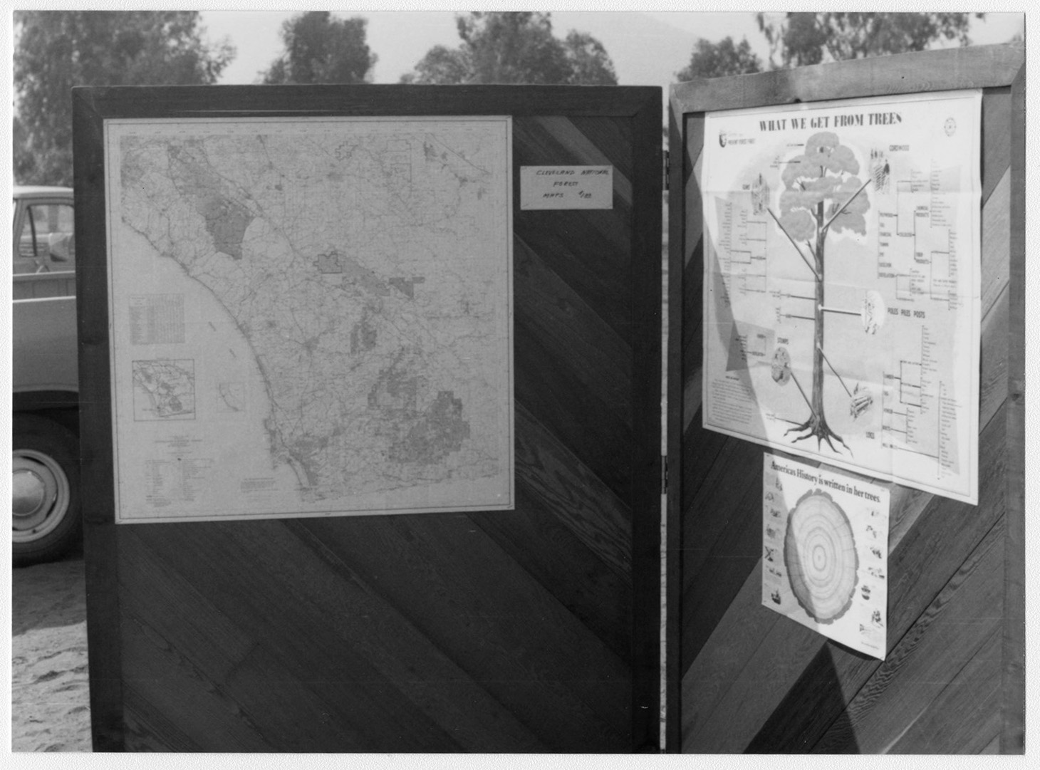 Arbor Day, Wild Animal Park, USDA [U.S. Department of Agriculture] Forest Service Display, Map of Cleveland National Forest, Lower Right Poster is Tree Rings and History Occurring at That Time in Tree's Life