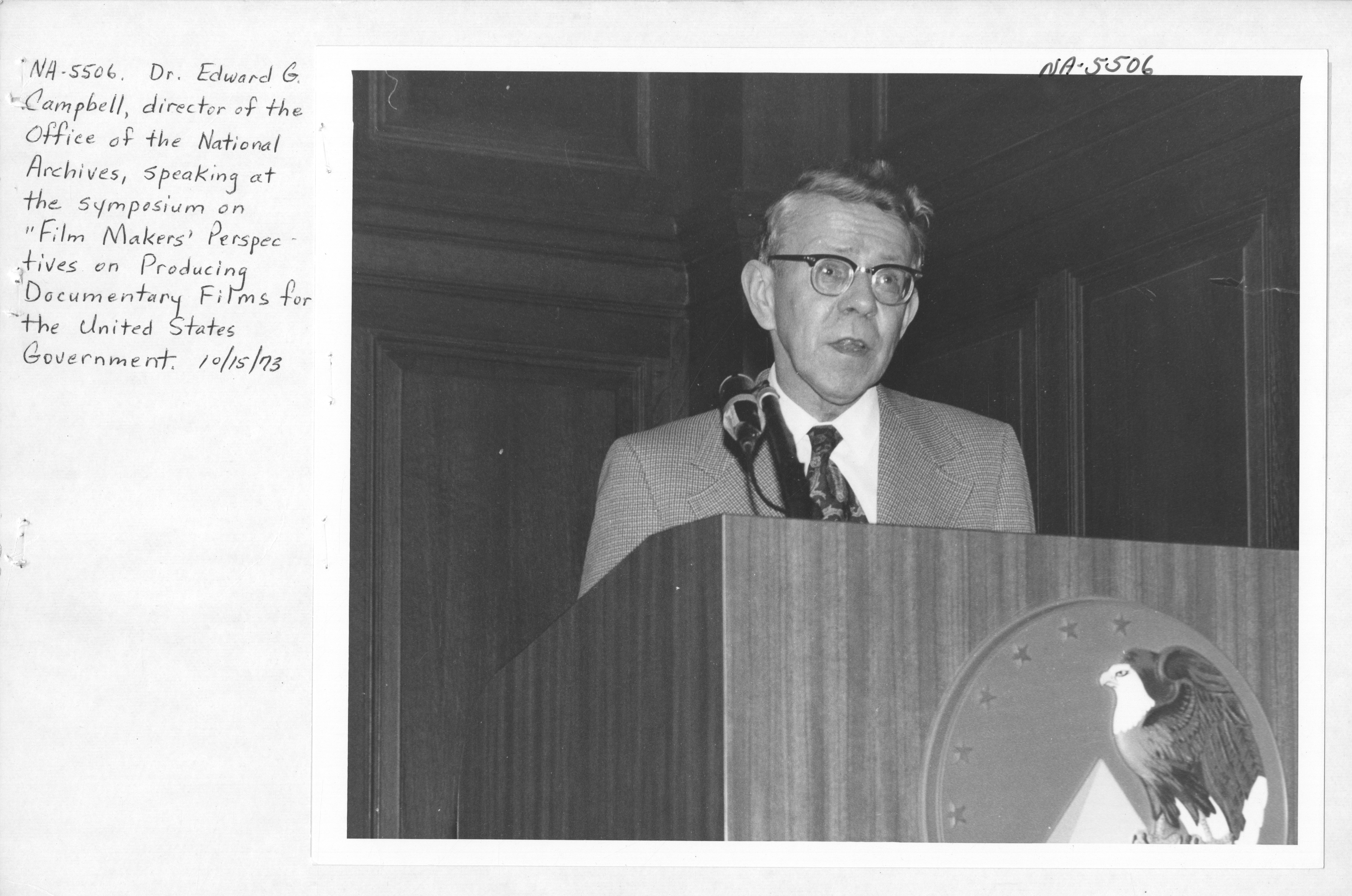 Photograph of Dr. Edward G. Campbell Speaking at the Symposium on