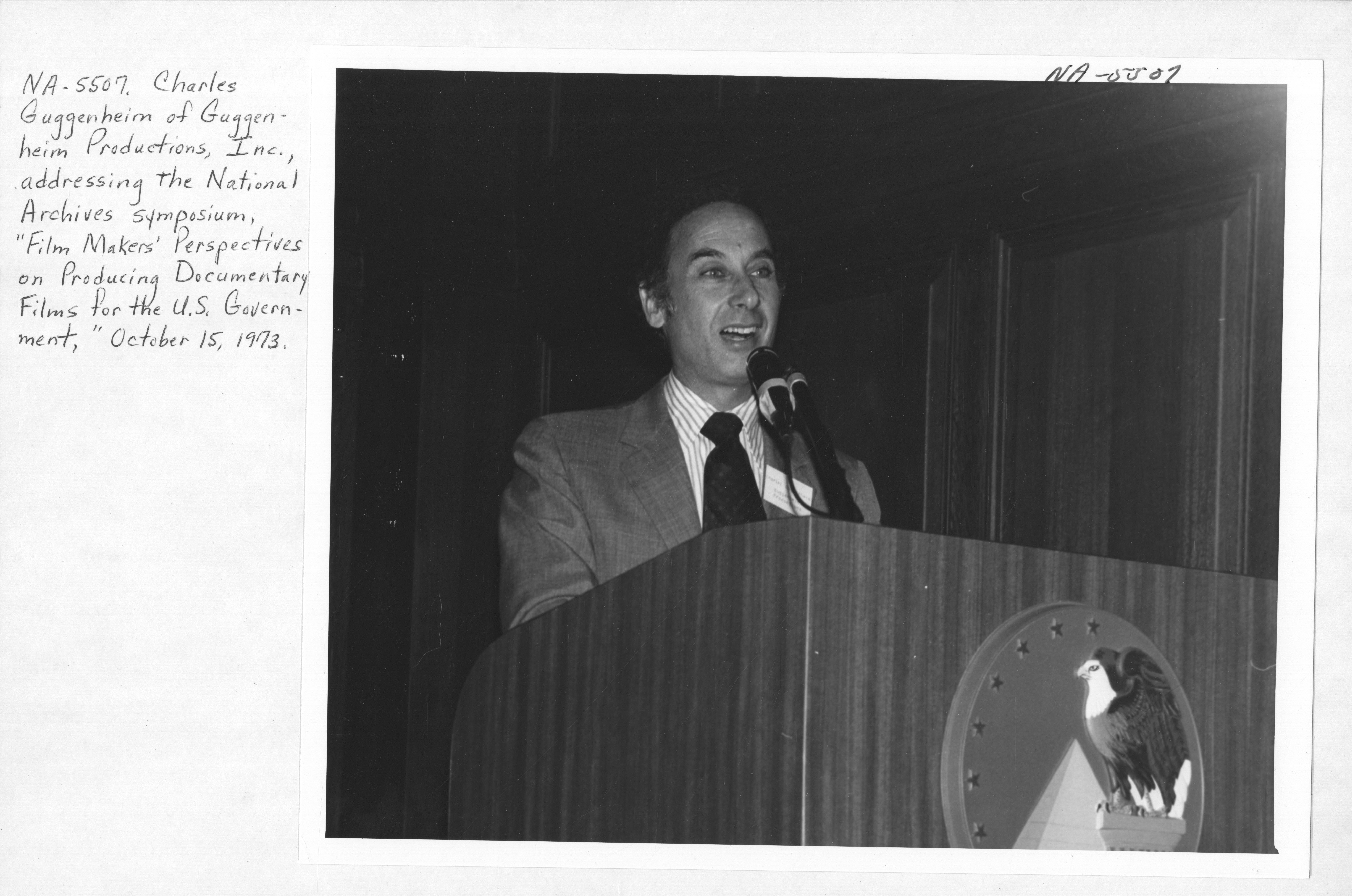Photograph of Charles Guggenheim Addressing the National Archives Symposium on