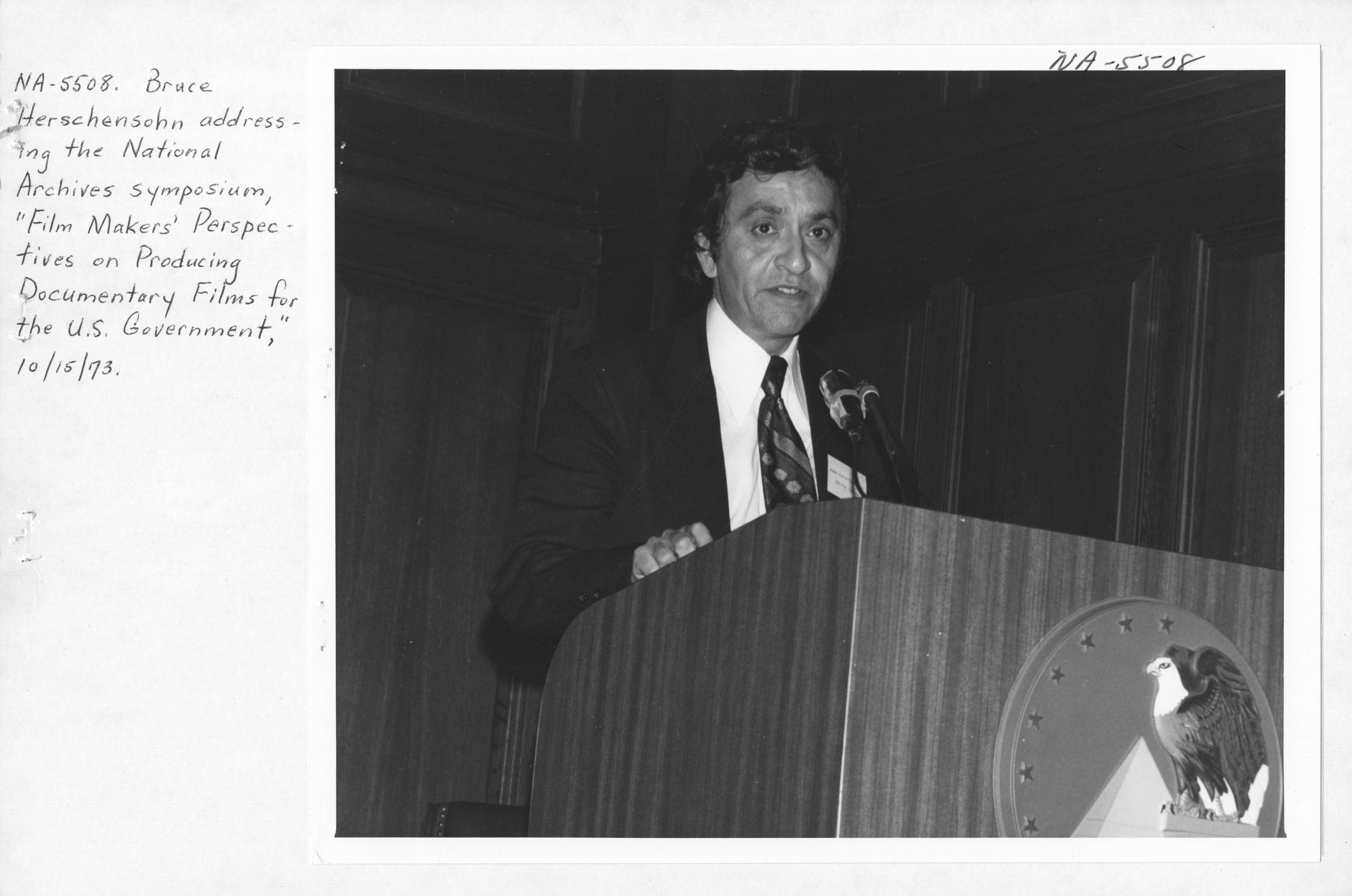 Photograph of Bruce Herschensohn Addressing the National Archives Symposium on