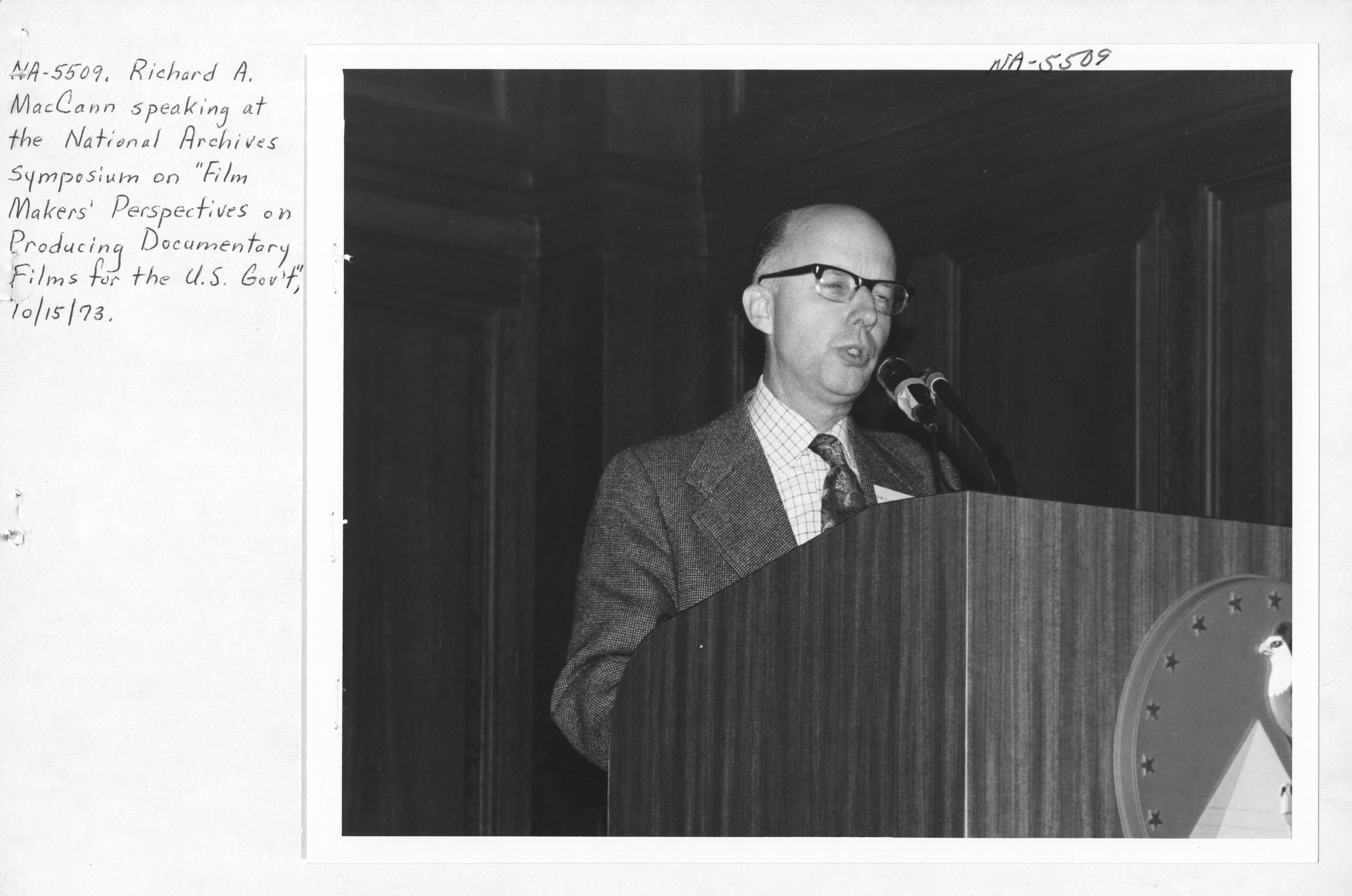 Photograph of Richard A. MacCann Speaking at the National Archives Symposium on