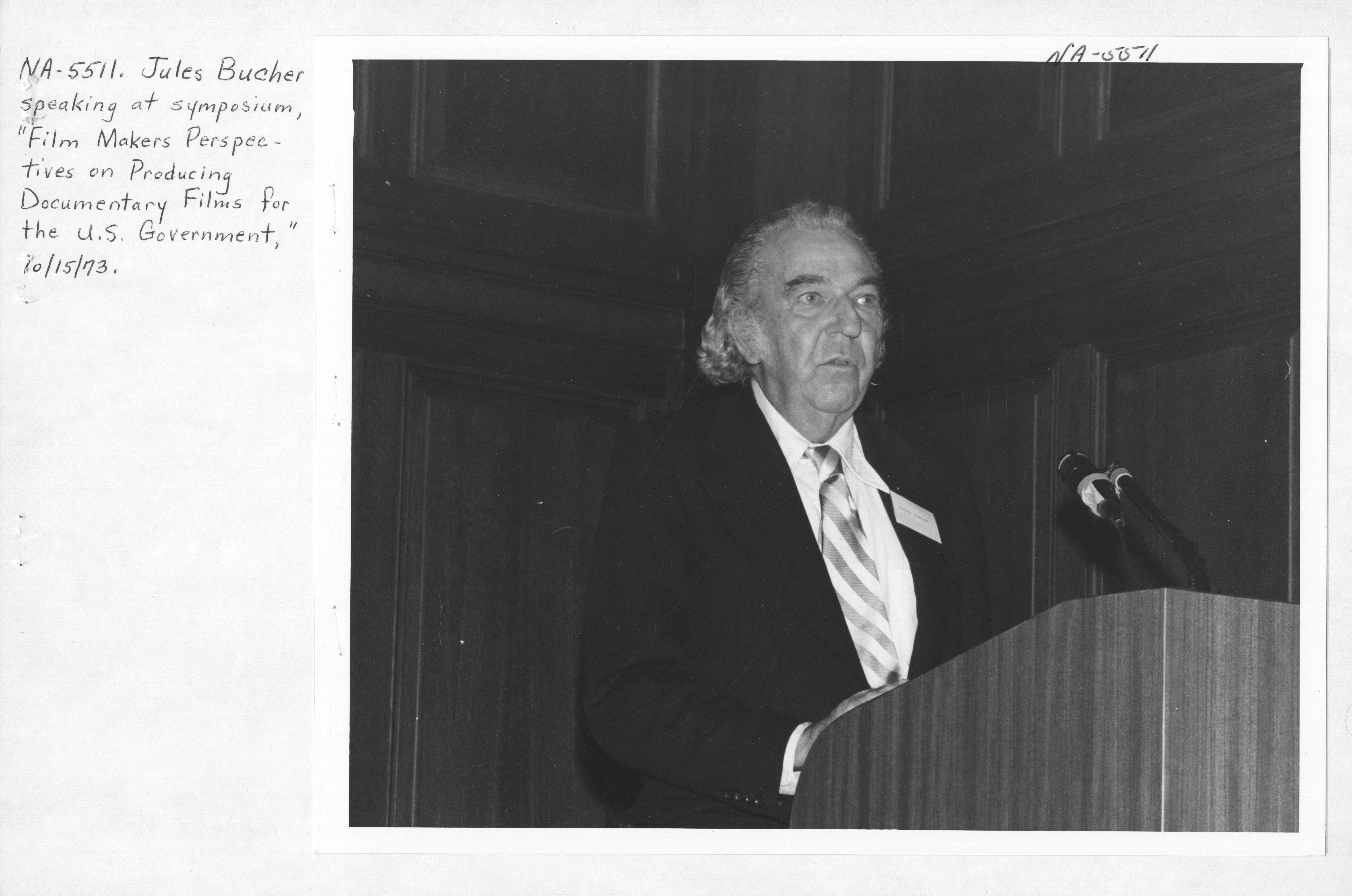 Photograph of Jules Bucher Speaking at the National Archives Symposium on