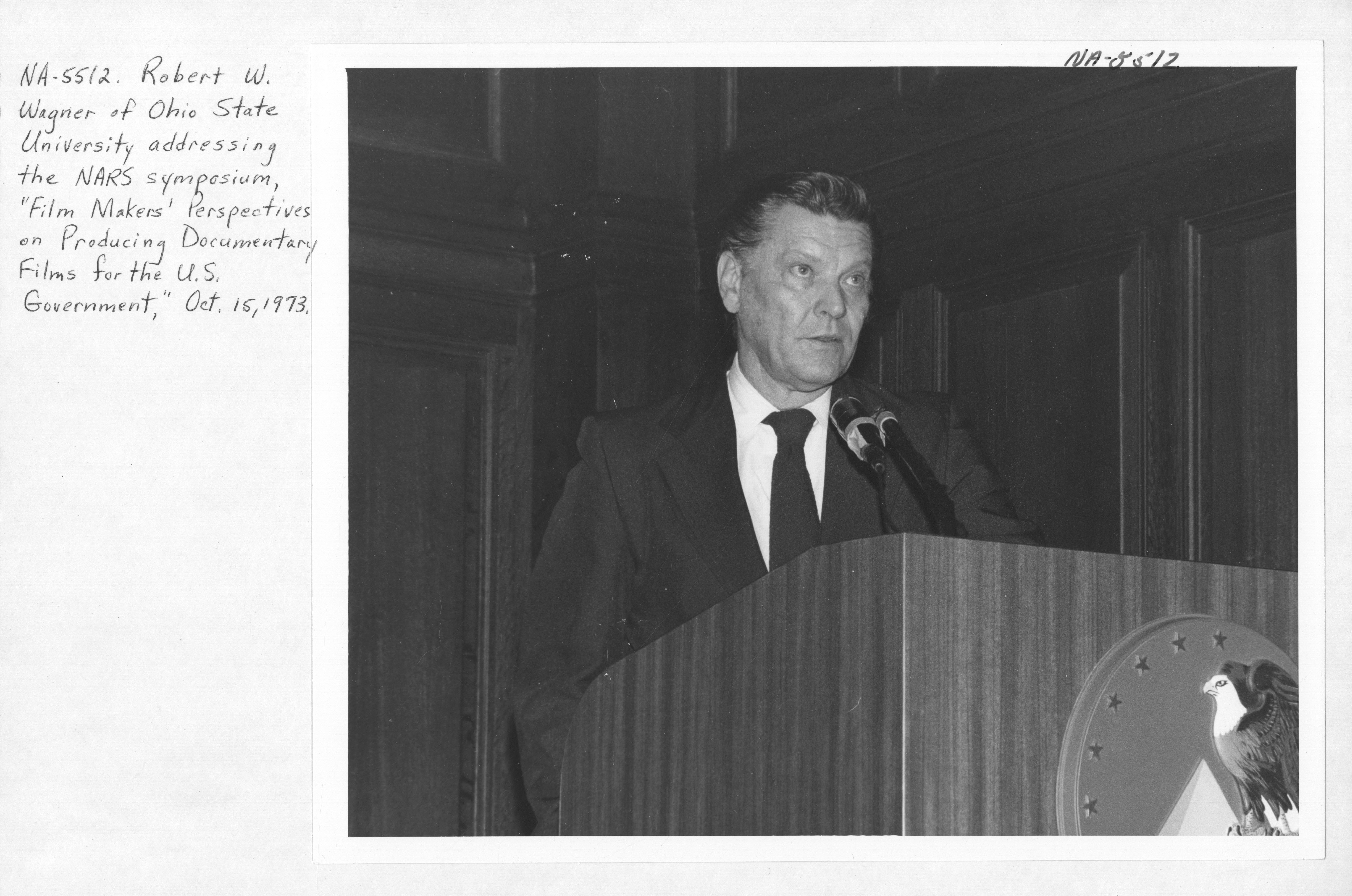 Photograph of Robert W. Wagner Addressing the National Archives Symposium on