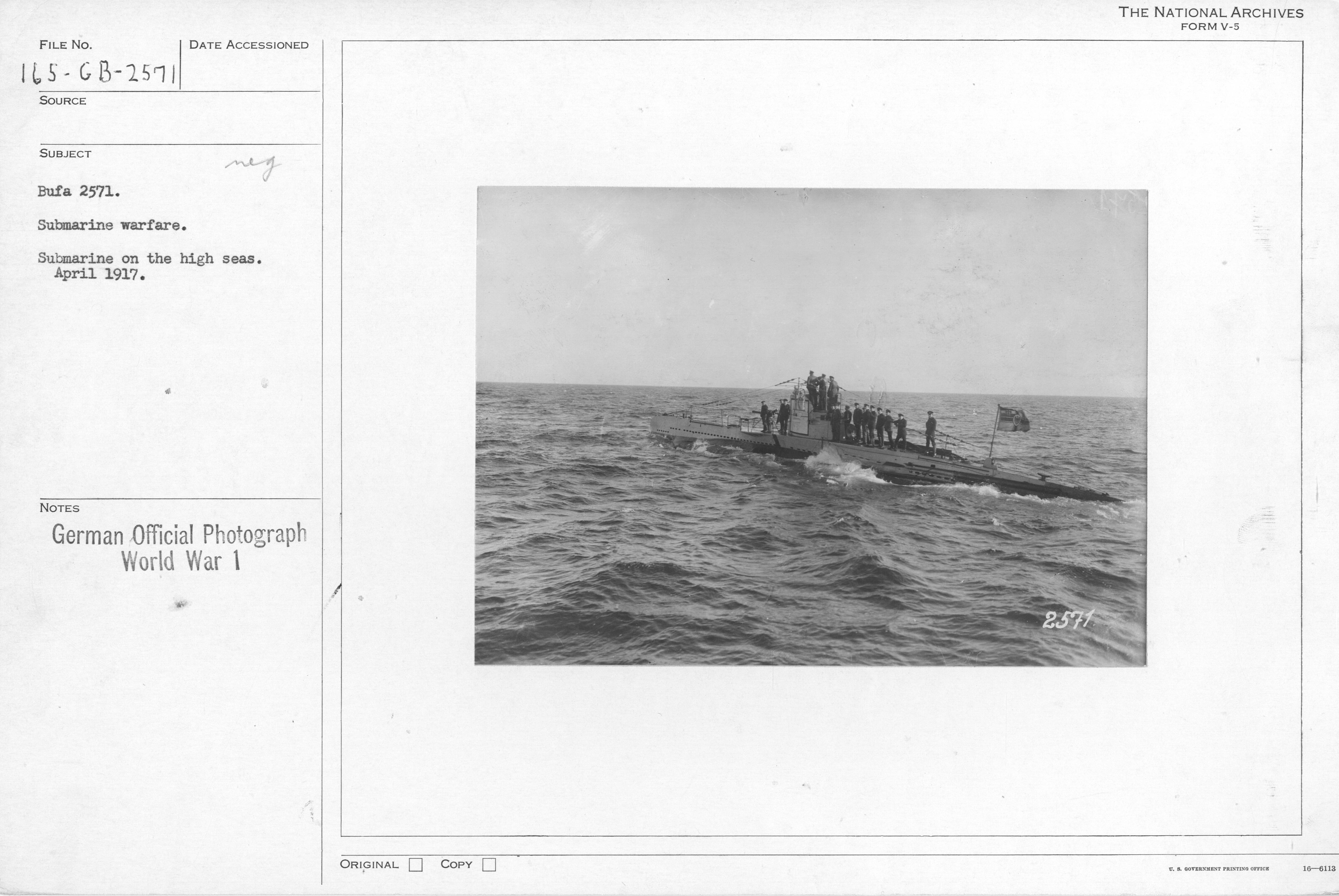 Submarine warfare. Submarine on the high seas. April 1917