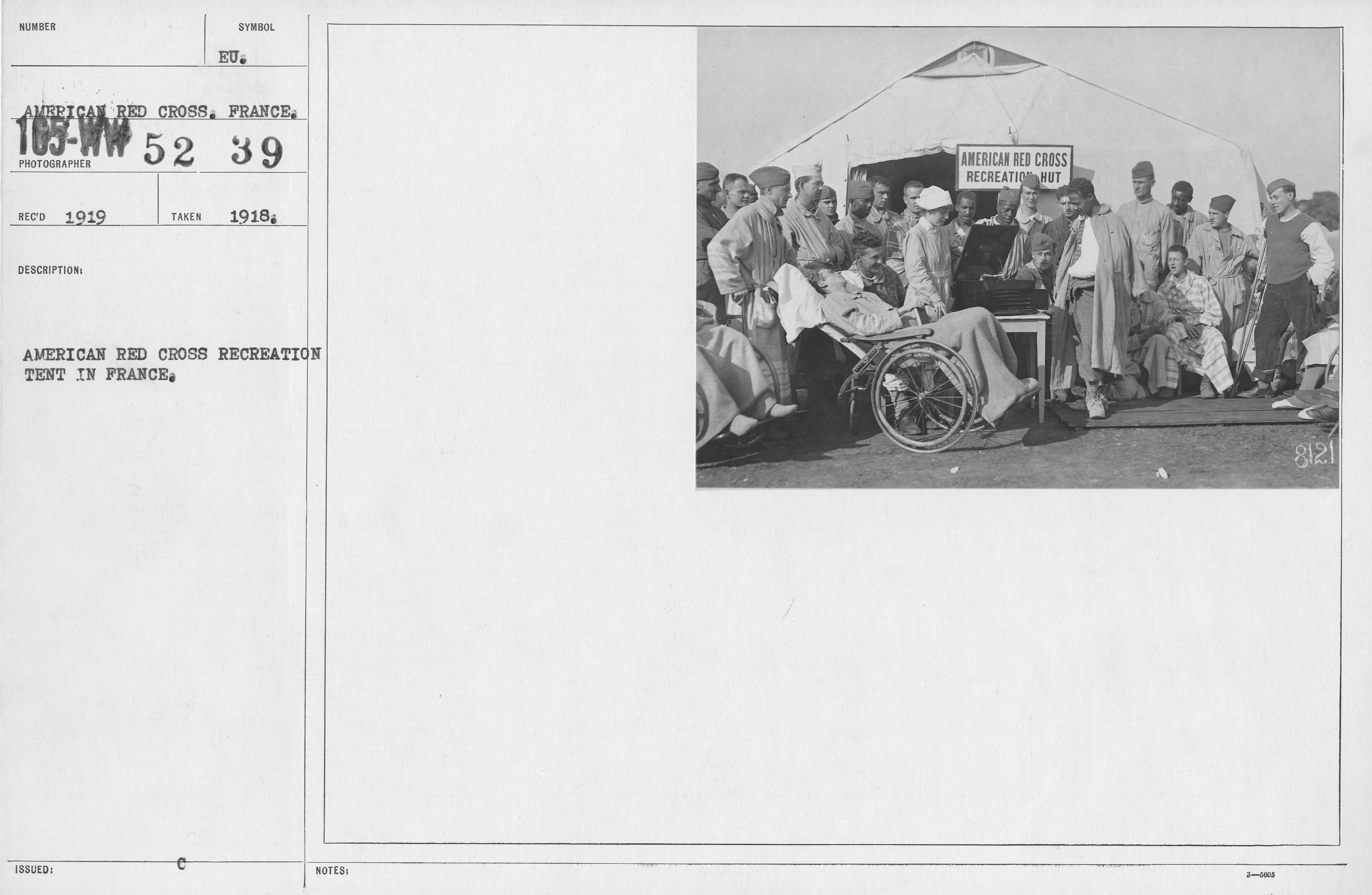 American Red Cross - Miscellaneous - American Red Cross recreation tent in France