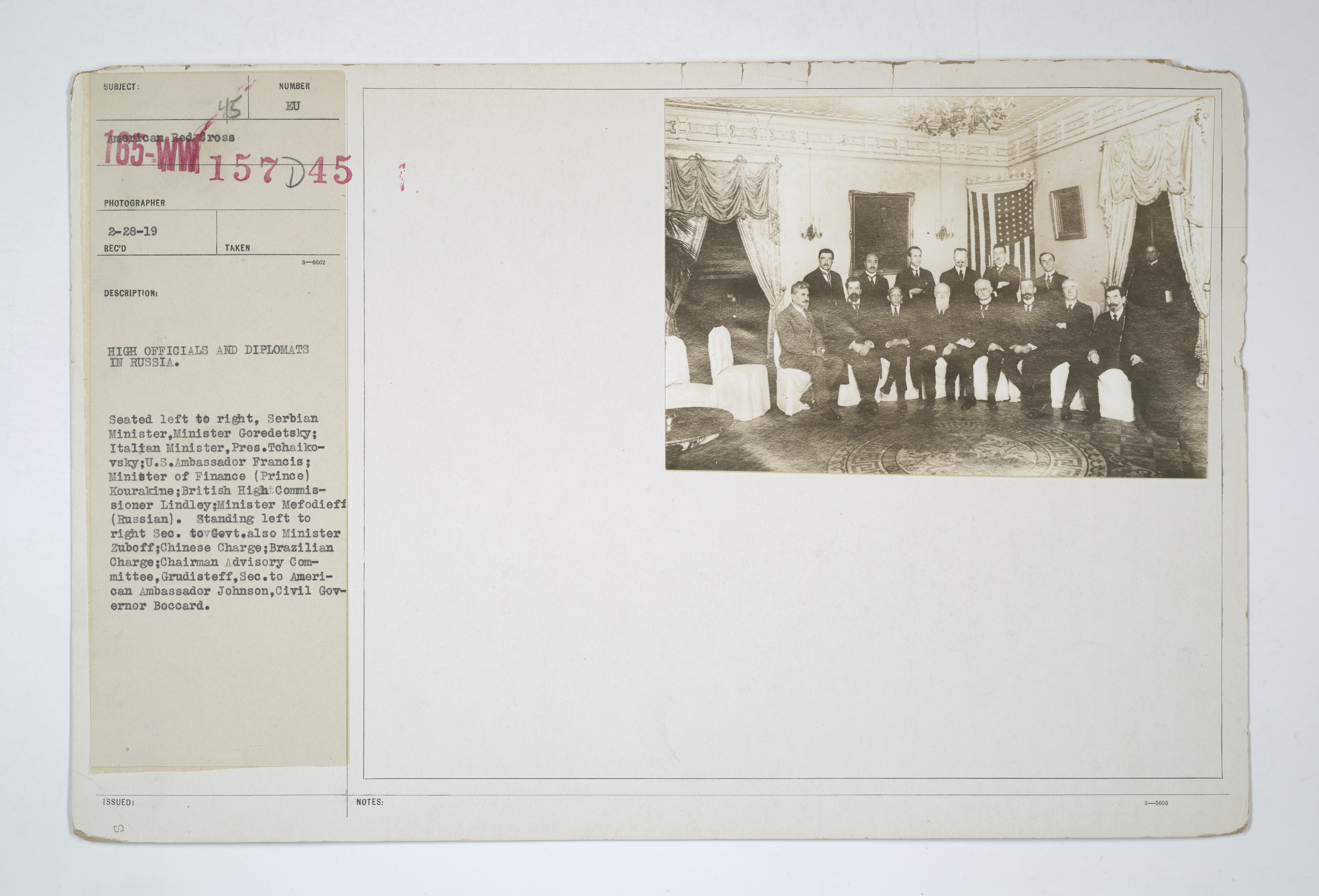 Enemy Activities - Arrests of Alien Enemies - Bolsheviks in Russia - High officials and diplomats in Russia