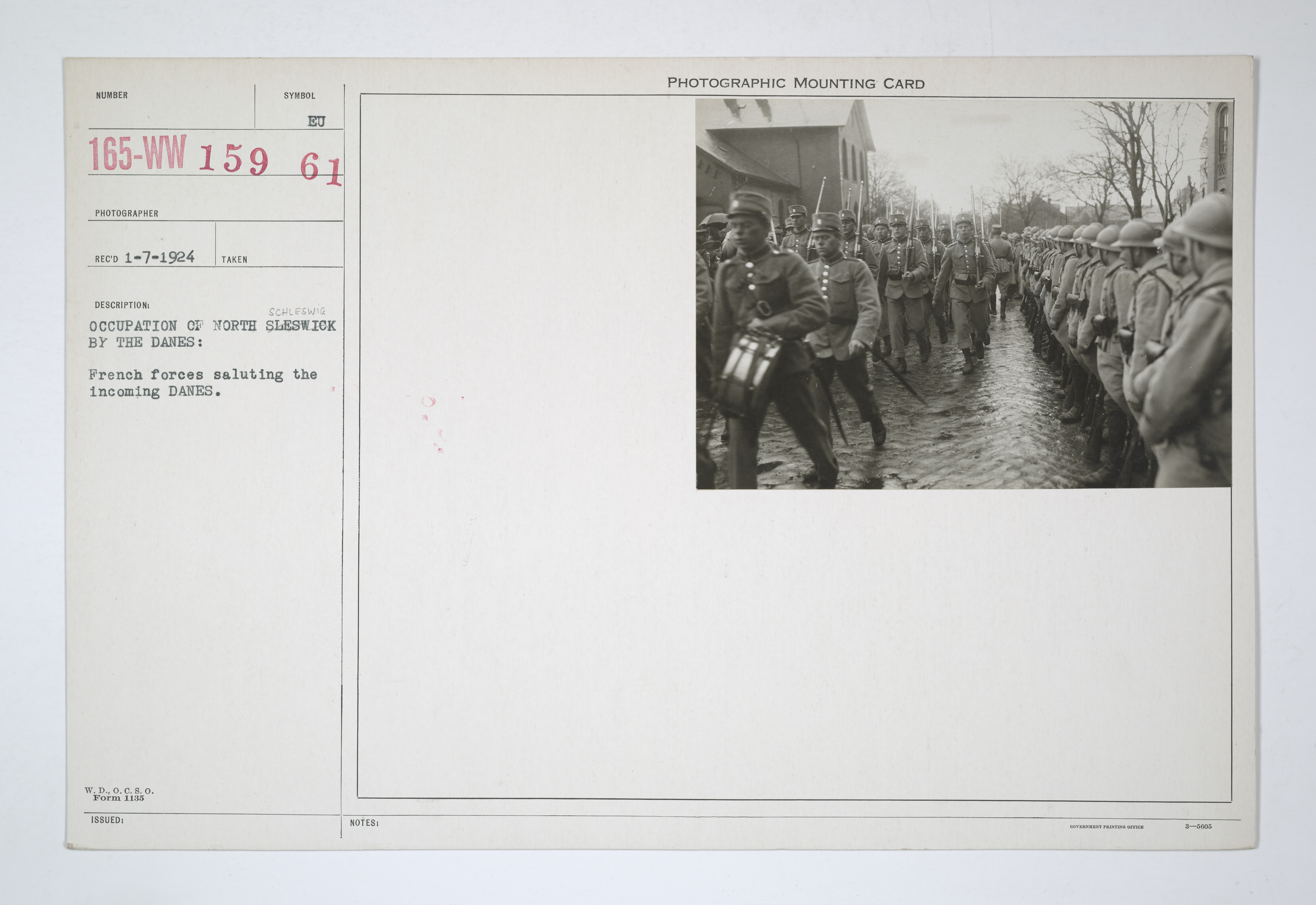 Enemy Activities - German Revolution - Occupation of North Schleswig by the Danes: French forces saluting the incoming Danes