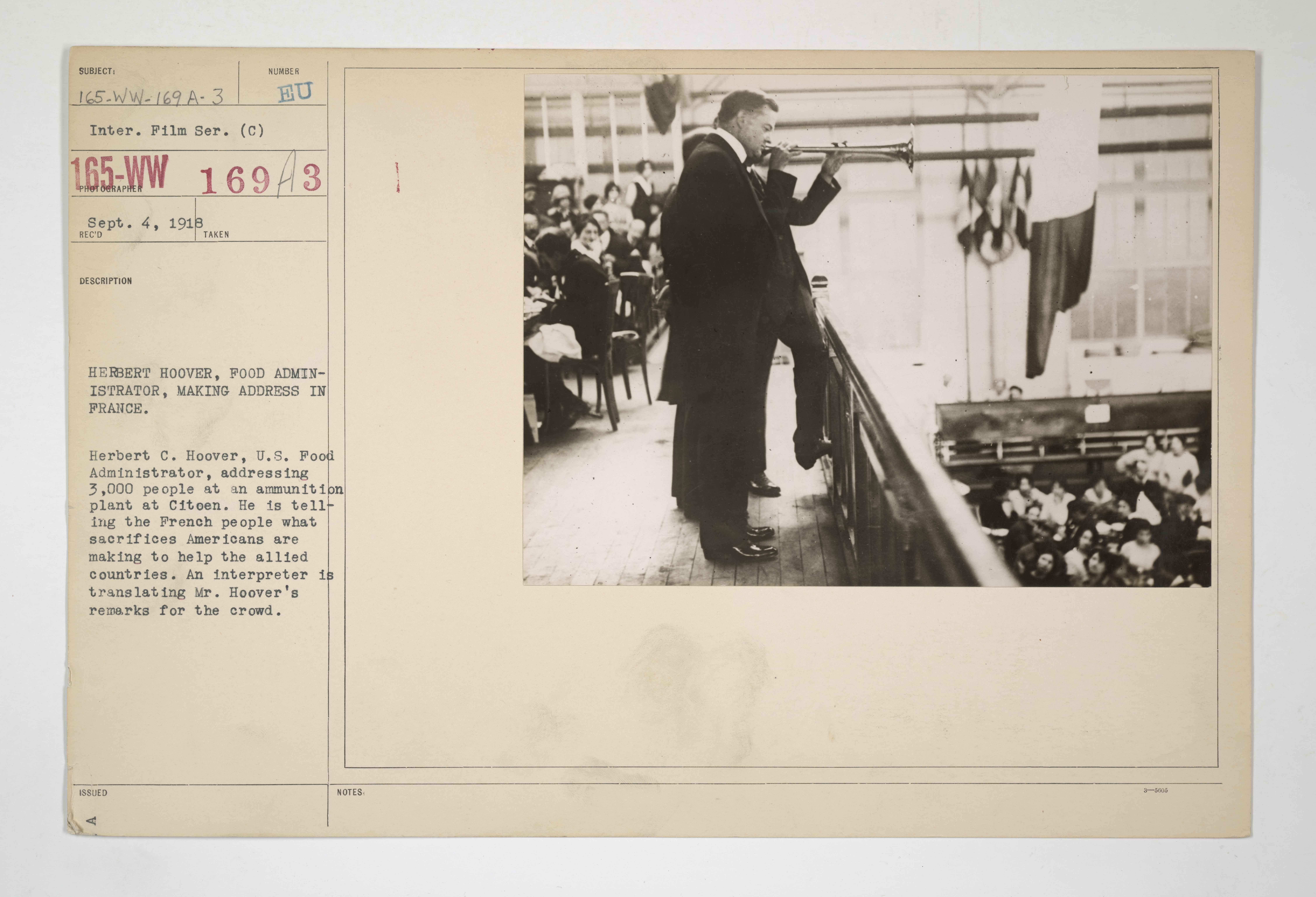 Food Administration - Administrators and Staff - Herbert Hoover, Food Administrator, making address in France