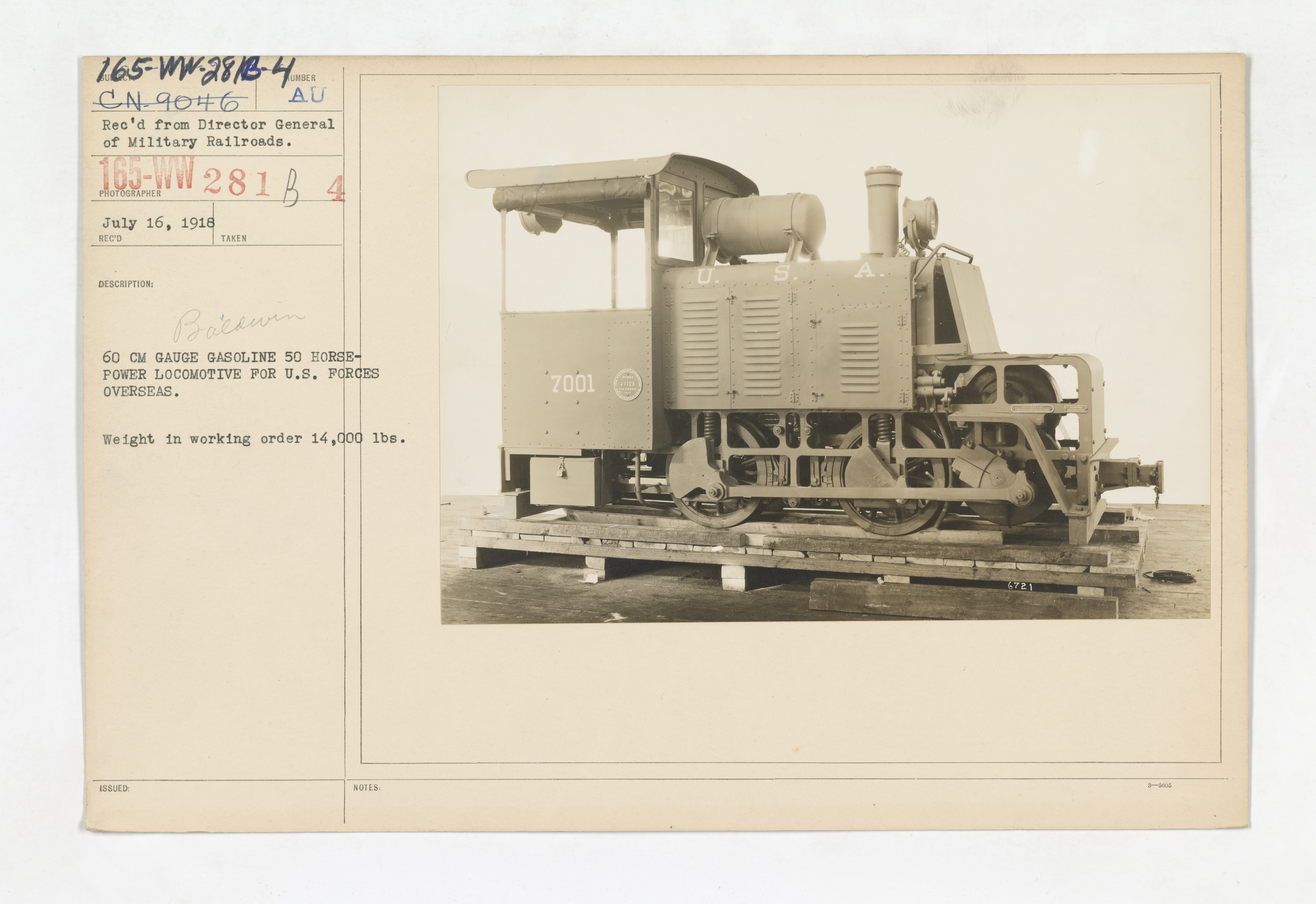 Military Administration - Transportation - Rail - 60 CM GAUGE GASOLINE 50 HORSE-POWER LOCOMOTIVE FOR U.S. FORCES OVERSEAS. Weight in working order 14,000 lbs