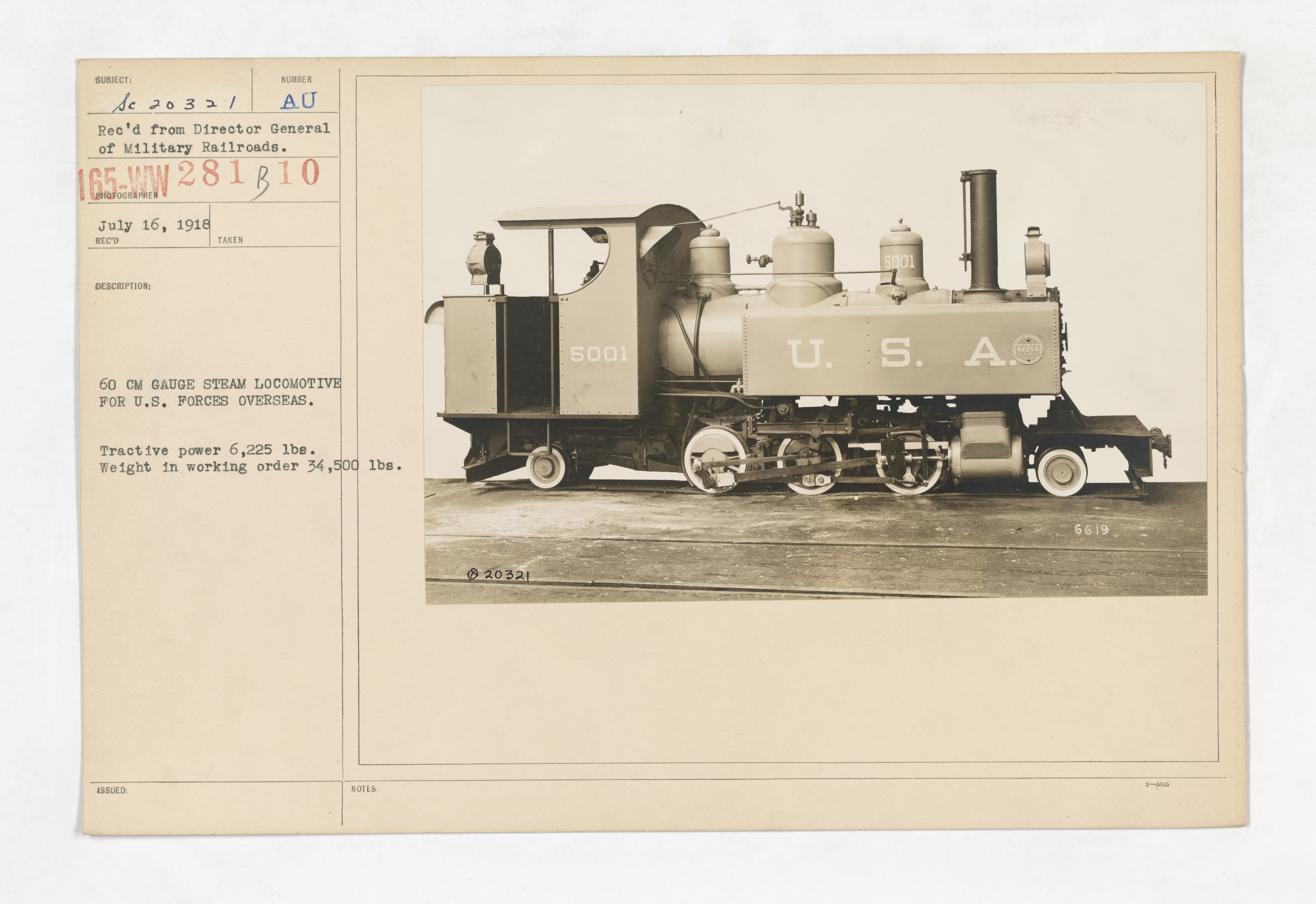 Military Administration - Transportation - Rail - 60 CM GAUGE STEAM LOCOMOTIVE FOR U.S. FORCES OVERSEAS. Tractive power 6,225 lbs. Weight in working order 34,500 lbs
