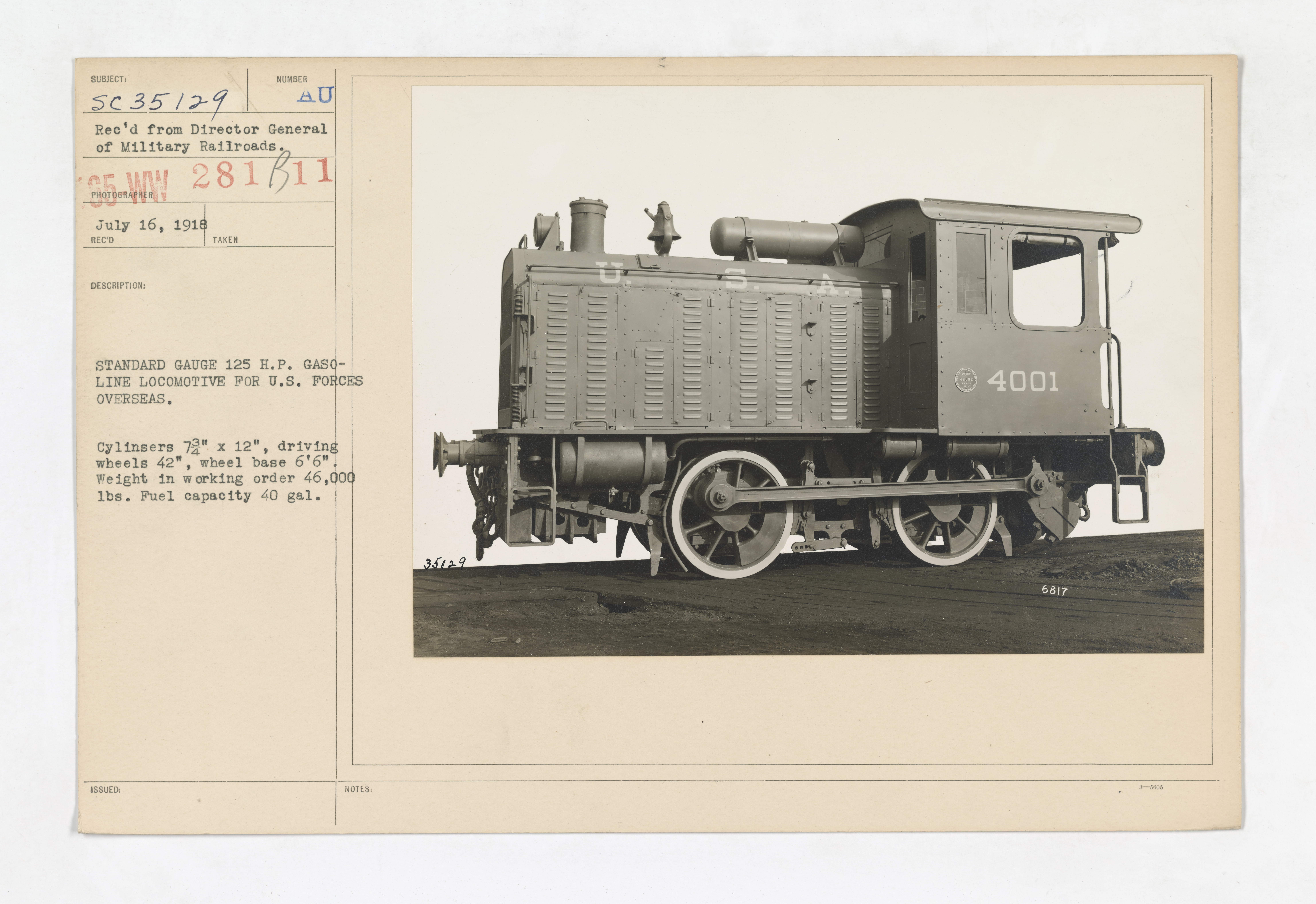 Military Administration - Transportation - Rail - STANDARD GAUGE 125 H.P. GASOLINE LOCOMOTIVE FOR U.S. FORCES OVERSEAS