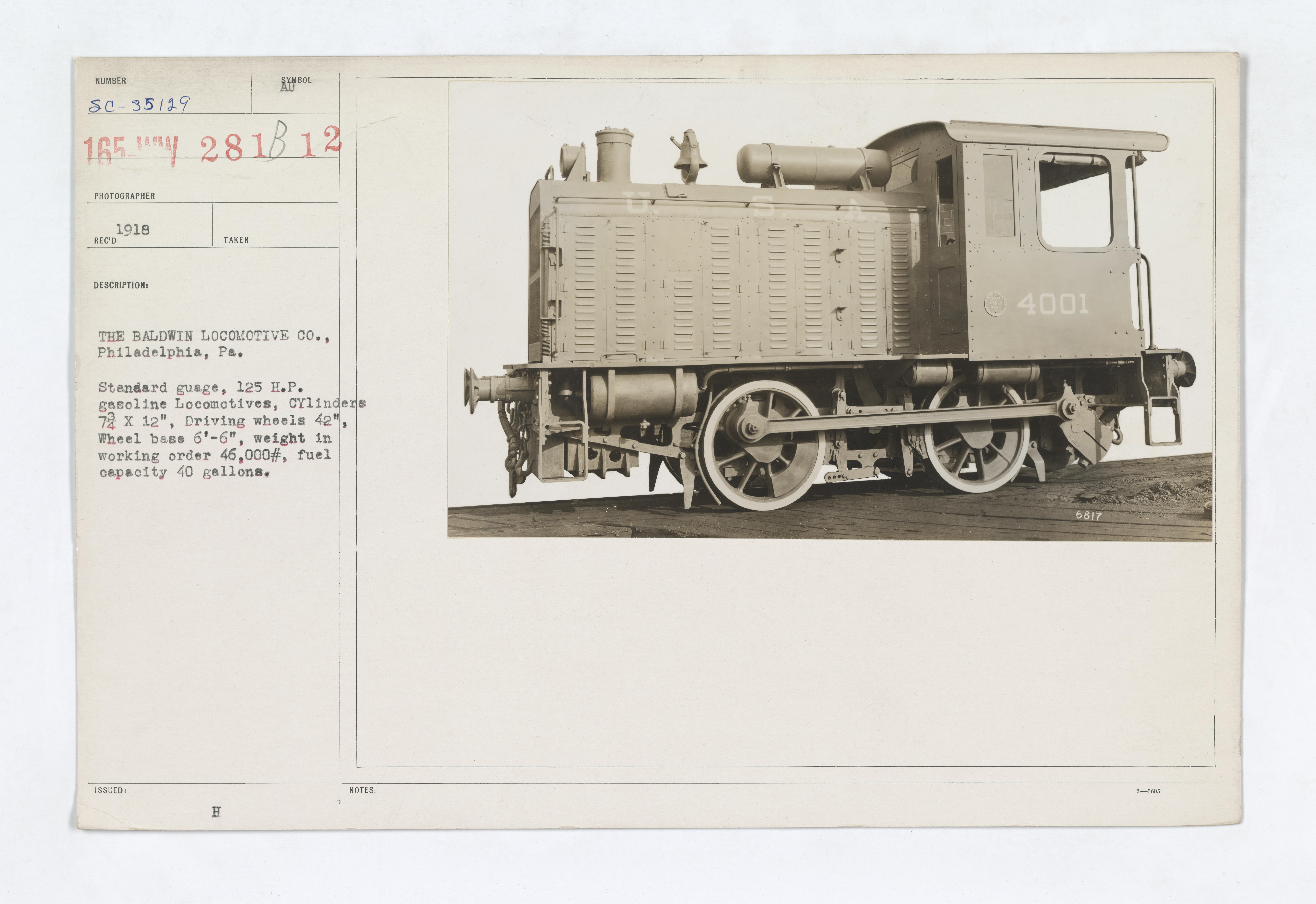 Military Administration - Transportation - Rail - THE BALDWIN LOCOMOTIVE CO