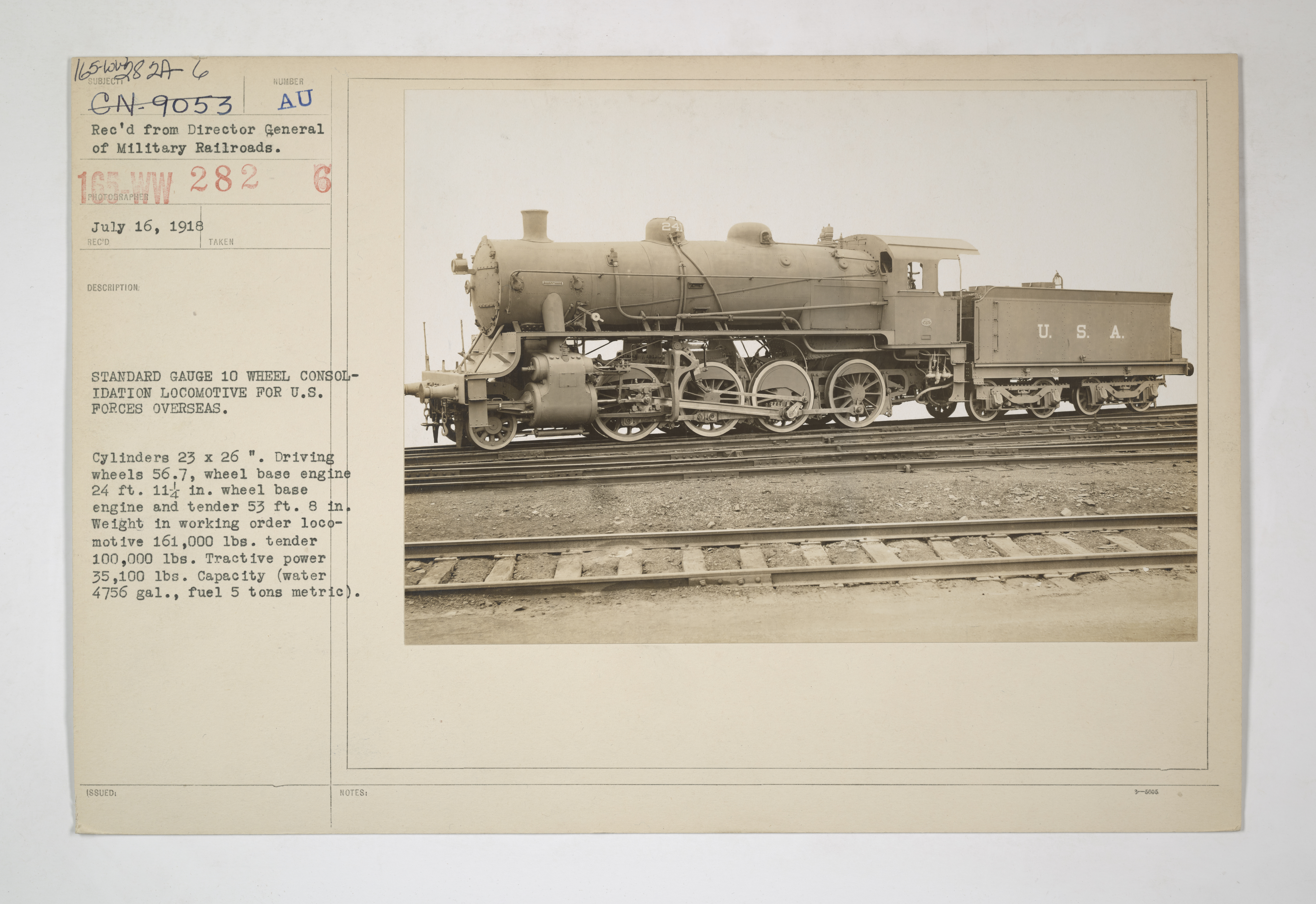 Military Administration - Transportation - Rail - Rolling Stock - STANDARD GAUGE 10 WHEEL CONSOLIDATION LOCOMOTIVE FOR U.S. FORCES OVERSEAS