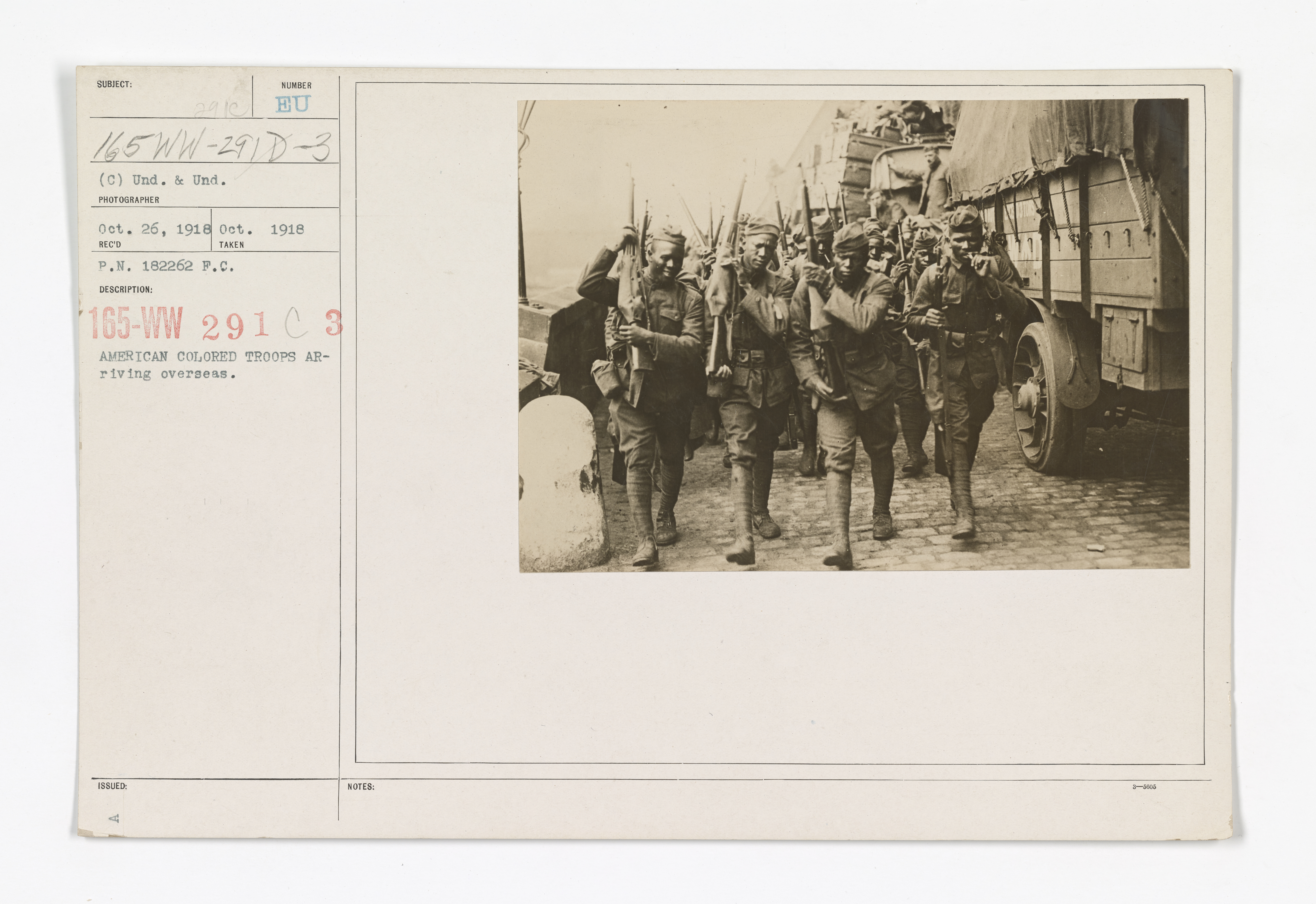 Military Operations - Debarkation & Embarking - American colored troops arriving overseas