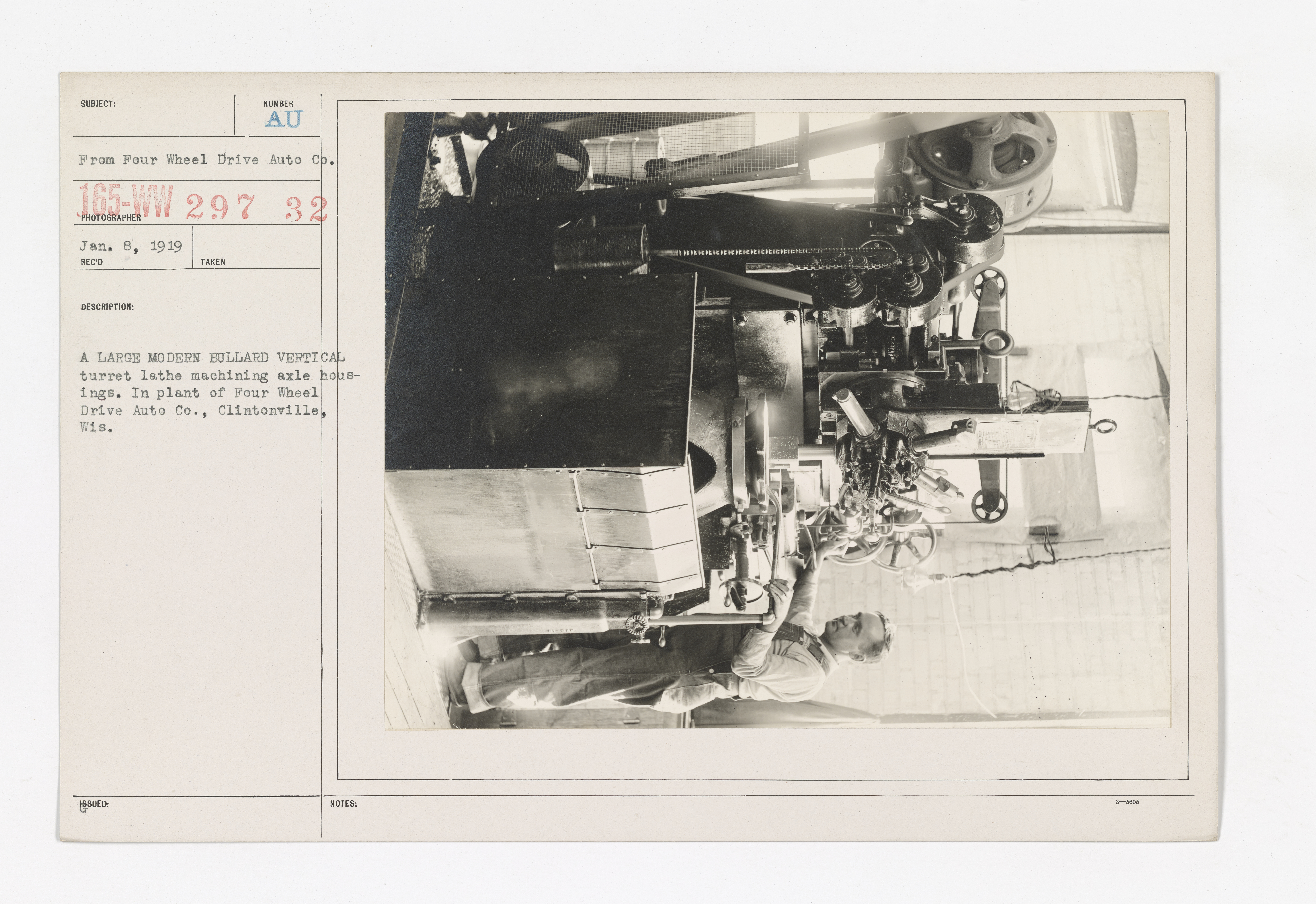 Motor Vehicles - Motor Trucks - Manufacturers - A large modern bullard vertical turret lathe machining axle housings. In plant of Four Wheel Drive Auto Co., Clintonville, Wis