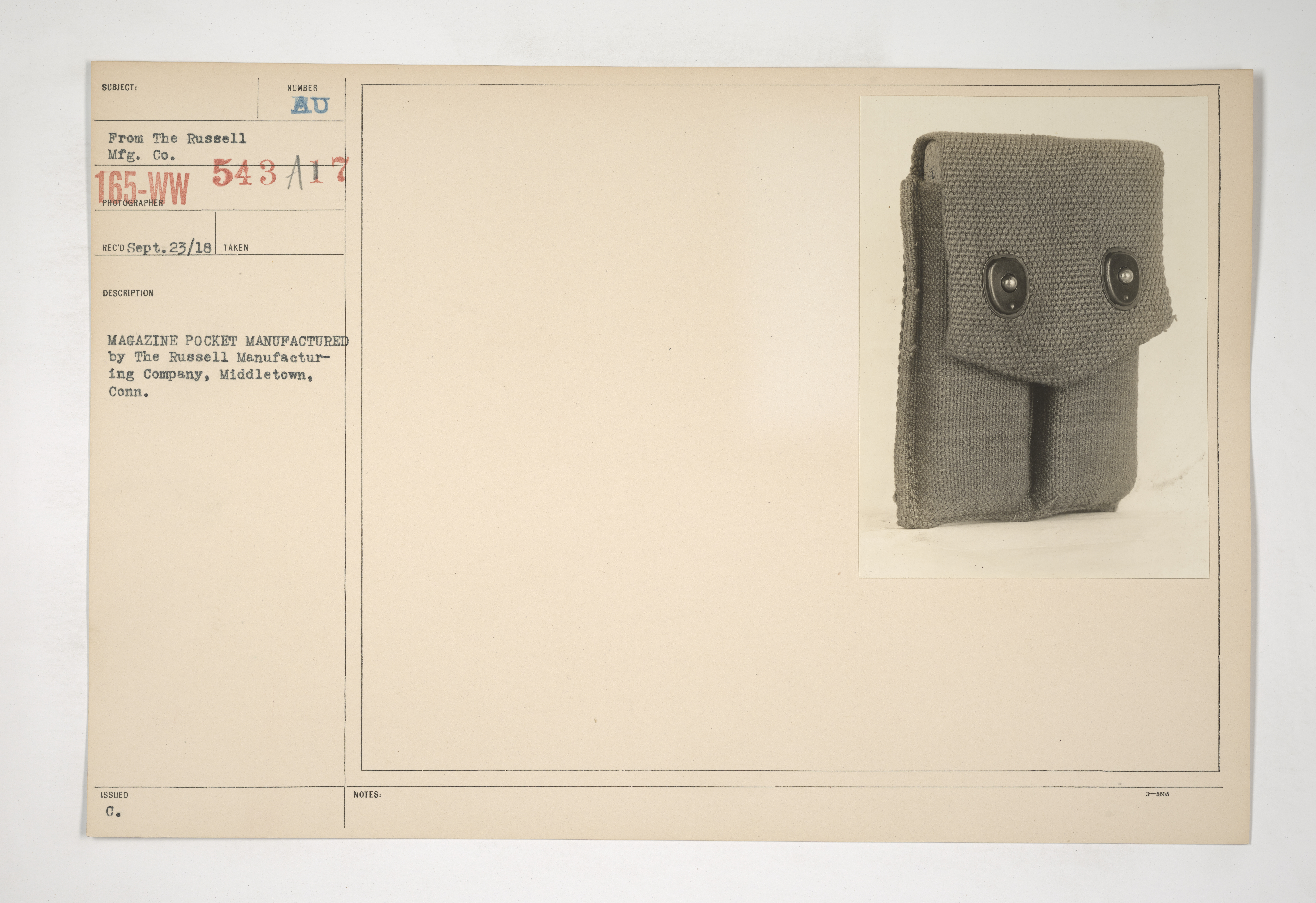 Uniforms and Equipment - Pouches and Scabbards [165-WW-543A-17]