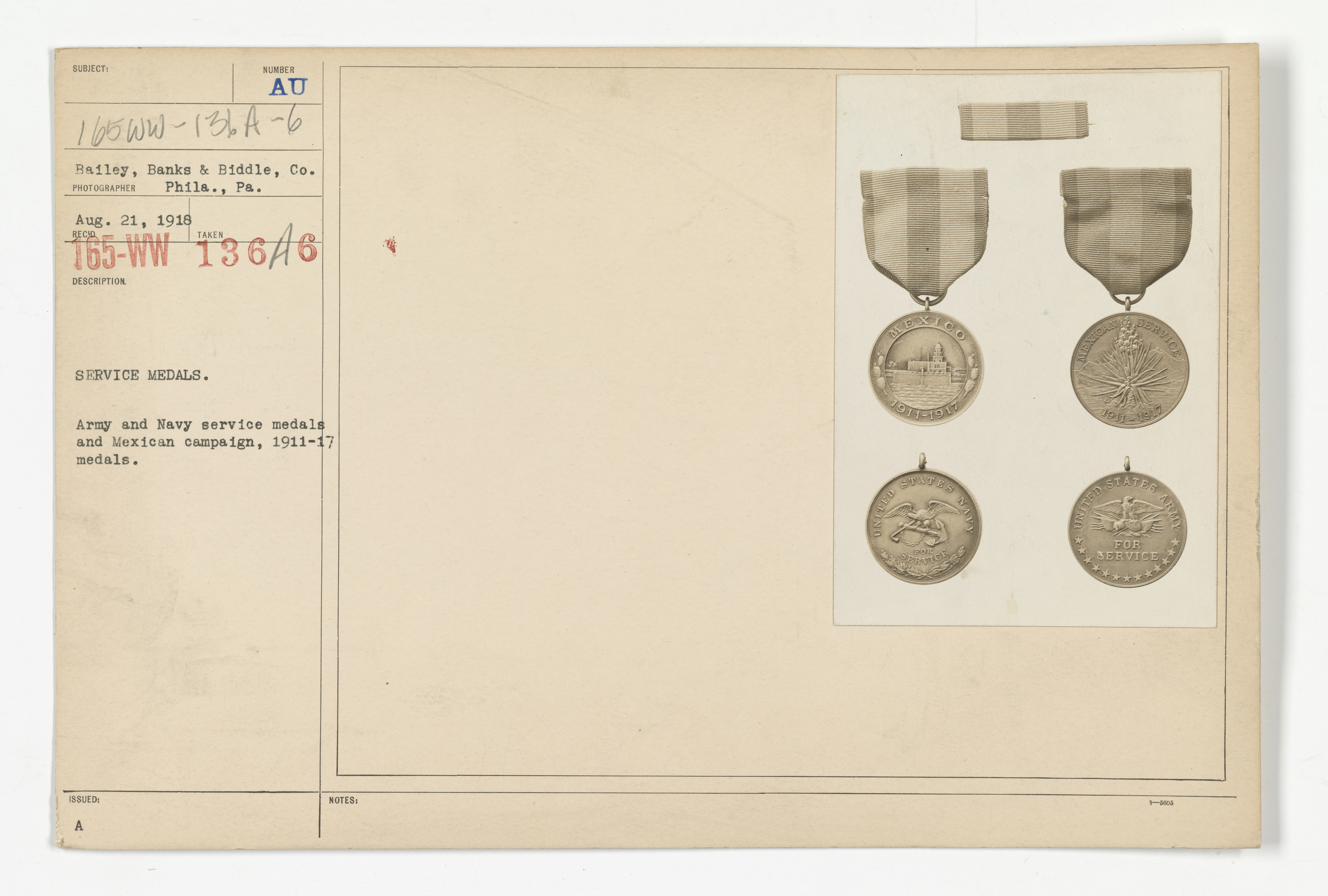 Decorations - Medals - American - Service medals. Army and Navy service medals and Mexican campaign, 1911-17 medals