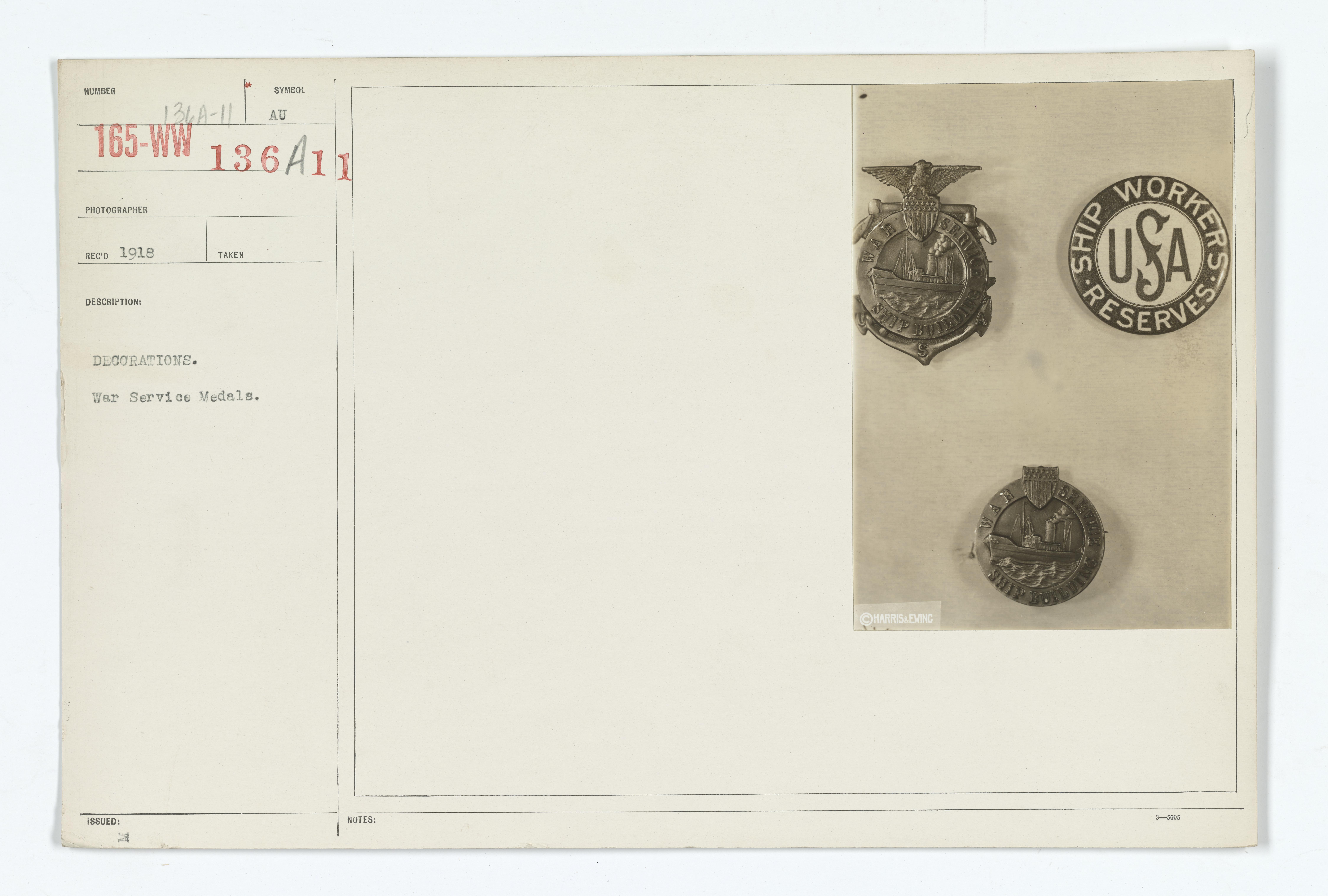 Decorations - Medals - American - Decorations. War Service Medals