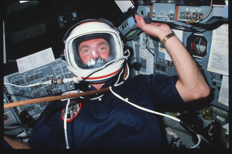 41C-02-055 - STS-41C - Astronauts van Hoften conduct pre-breating exercise