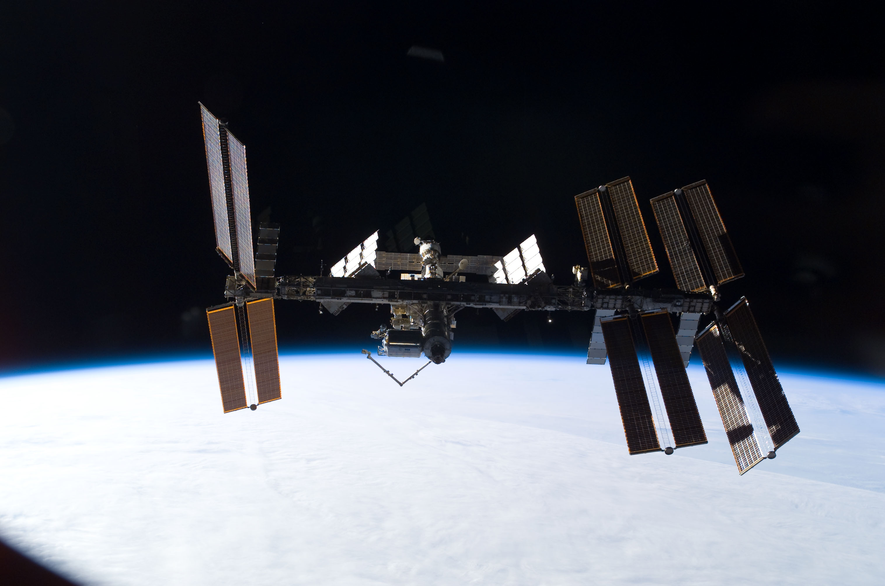 S122E011075 - STS-122 - View of ISS after STS-122 Undocking