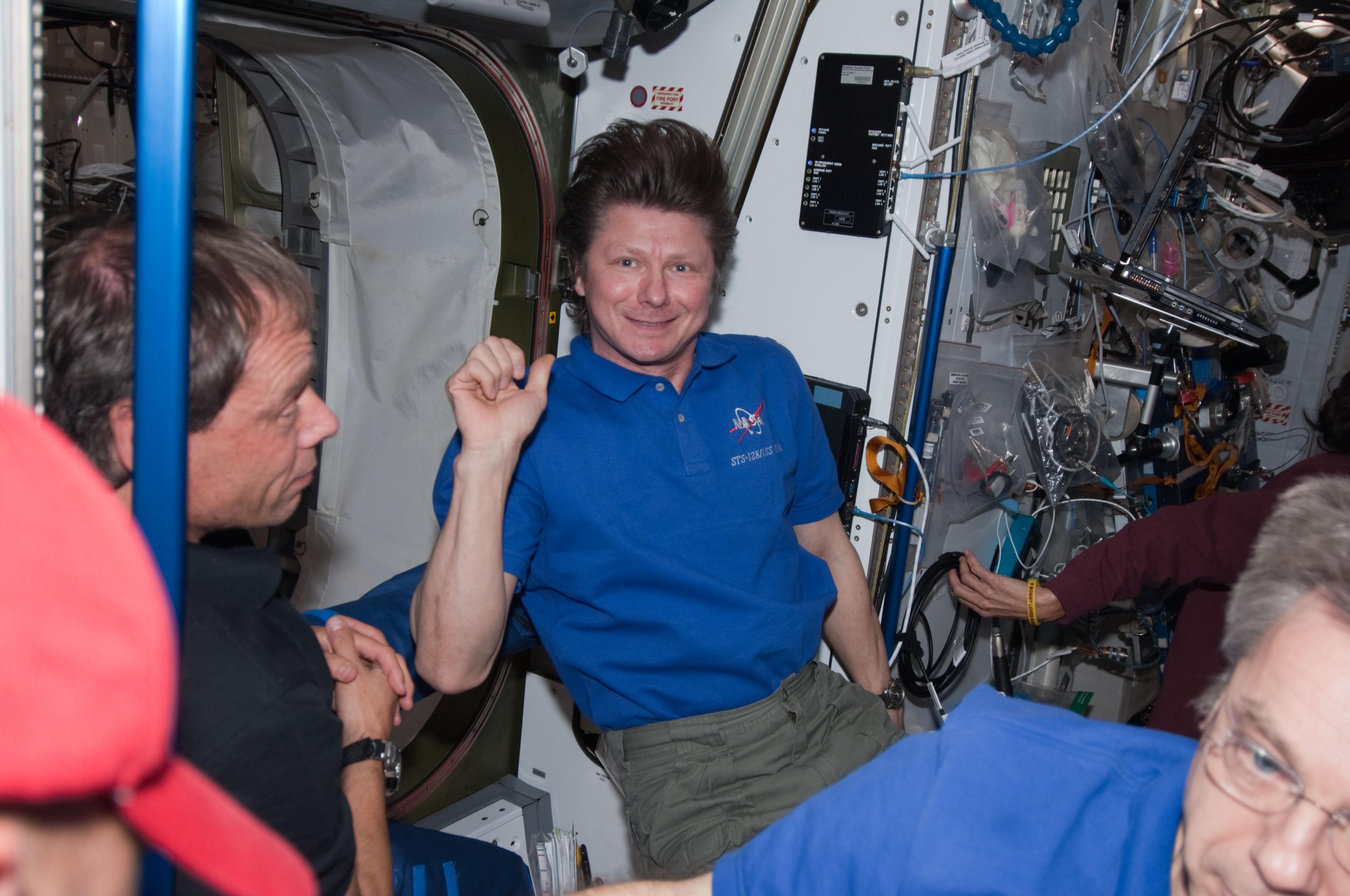 S128E008370 - STS-128 - Crew in Node 2 Harmony
